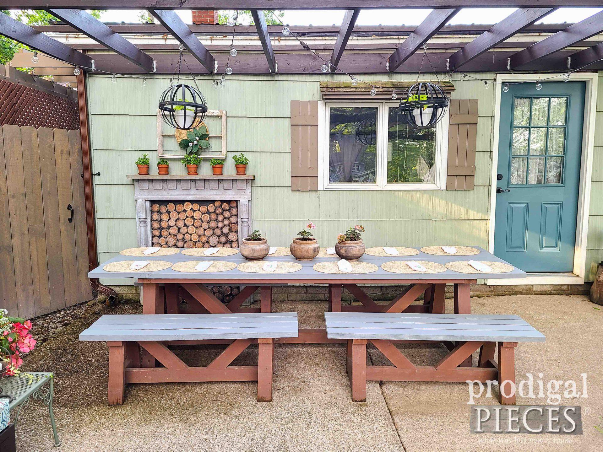 DIY Patio Picnic Dining Table by Larissa of Prodigal Pieces | prodigalpieces.com #prodigalpieces #patio #diy #home