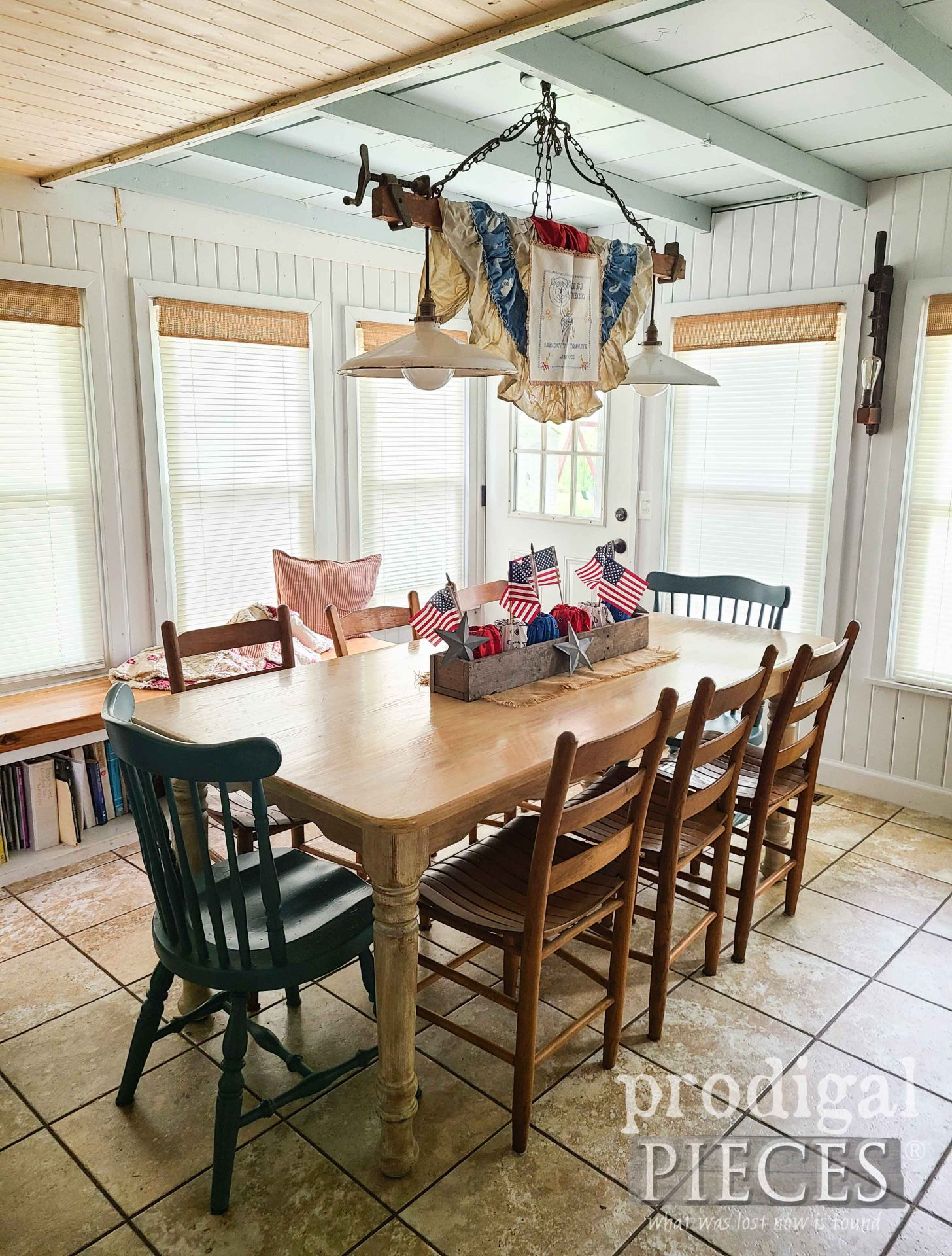 Patriotic Dining Table with Refashioned Bandanas and Vintage Style by Larissa of Prodigal Pieces | prodigalpieces.com #prodigalpieces #home #farmhouse #diy #refashioned #diy #4thofjuly #independenceday