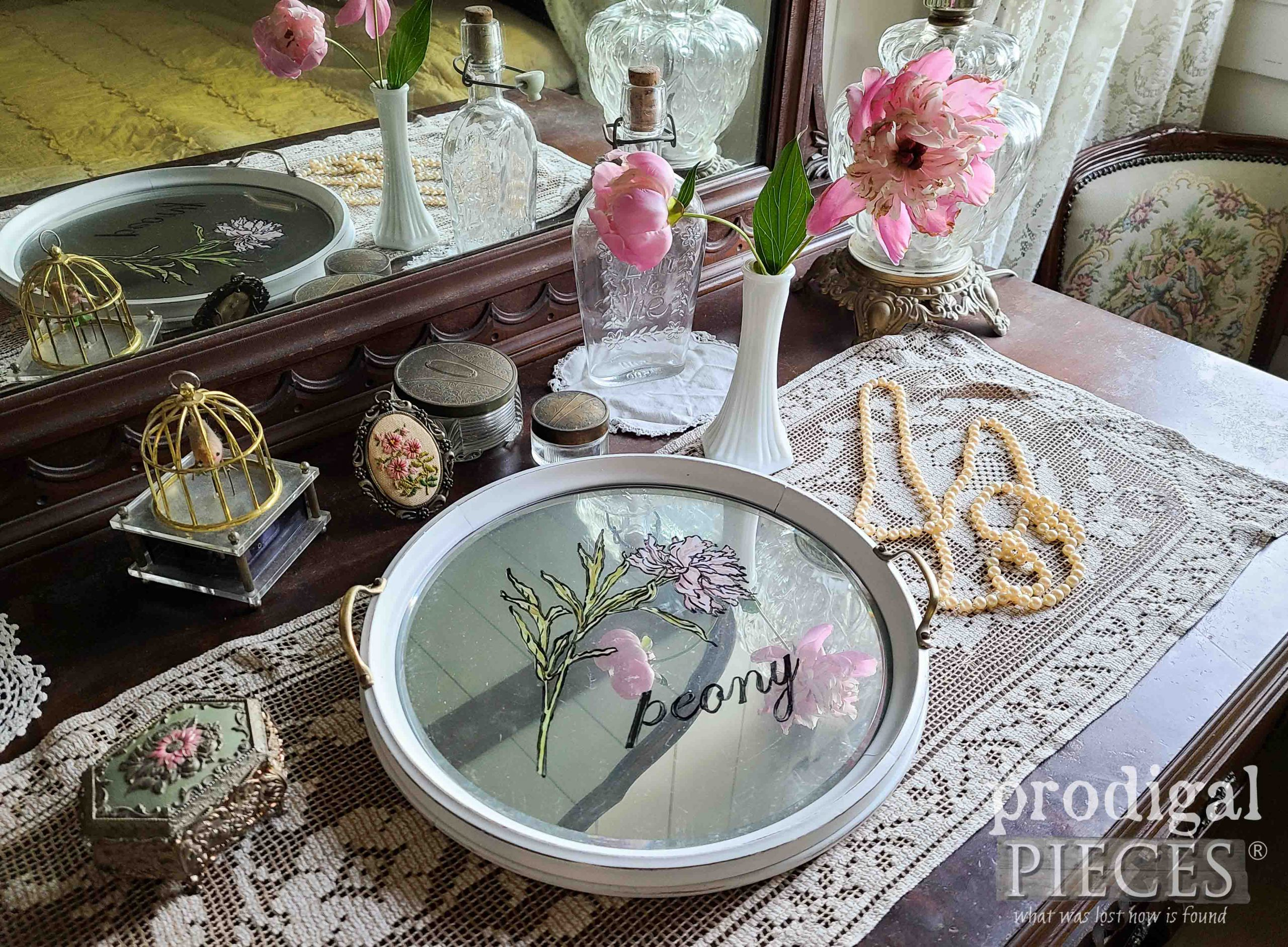Beautiful Hand-Painted Round Glass SErving Tray with Peony by Larissa of Prodigal Pieces | prodigalpieces.com #prodigalpieces #home #diy #vintage #homedecor
