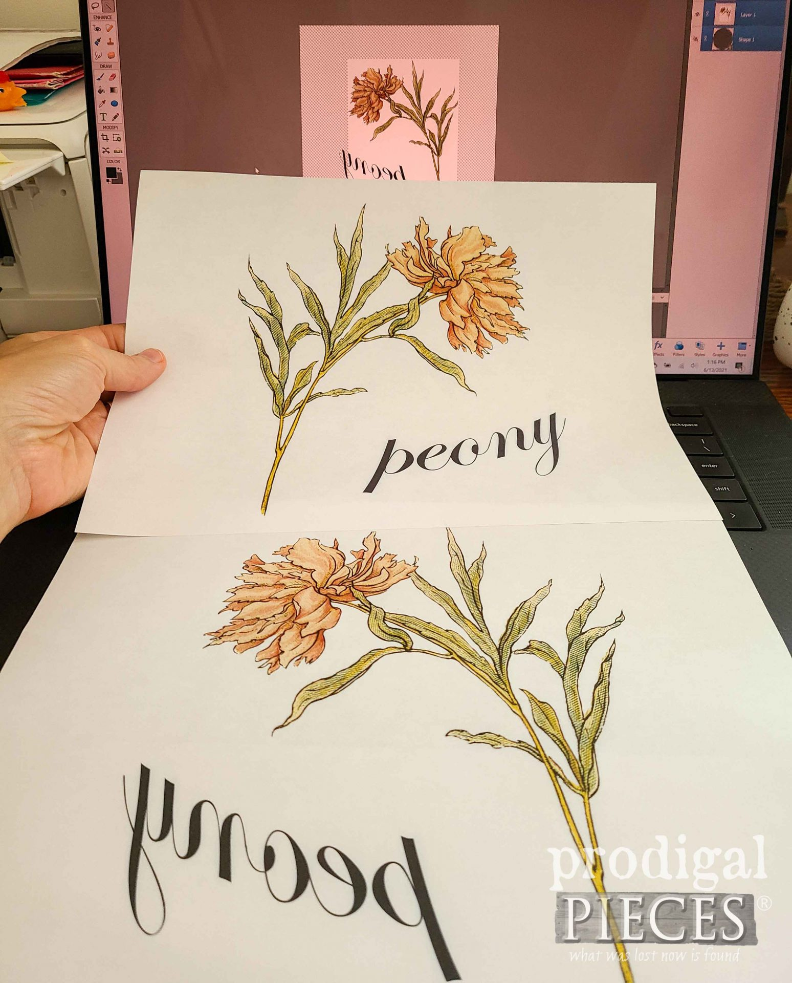 Vintage Peony Graphic for Round Glass Serving Tray Makeover | prodigalpieces.com