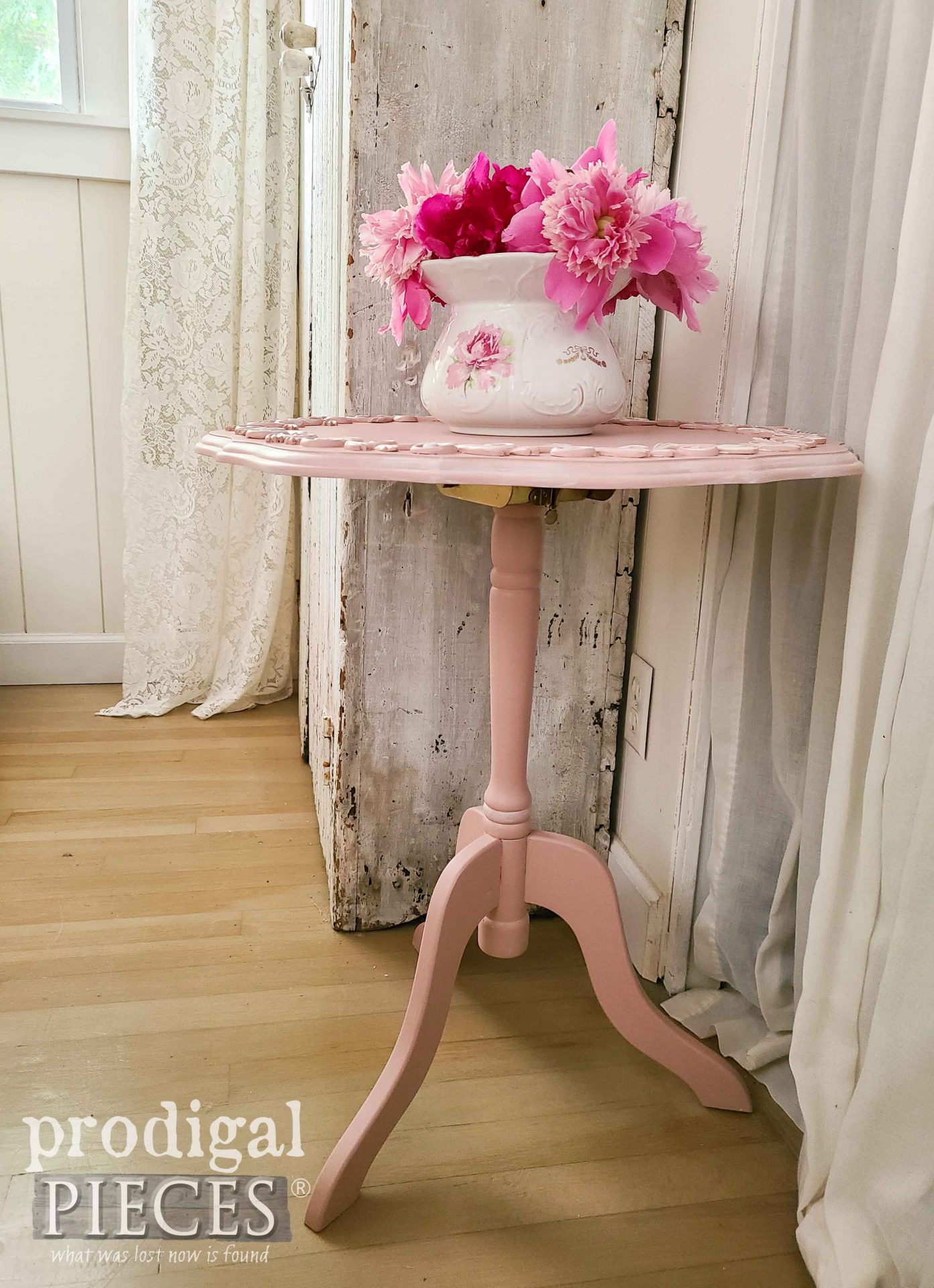 Pink Pedestal Table with Tilt Top by Prodigal PIeces | prodigalpieces.com #prodigalpieces #furniture #pink