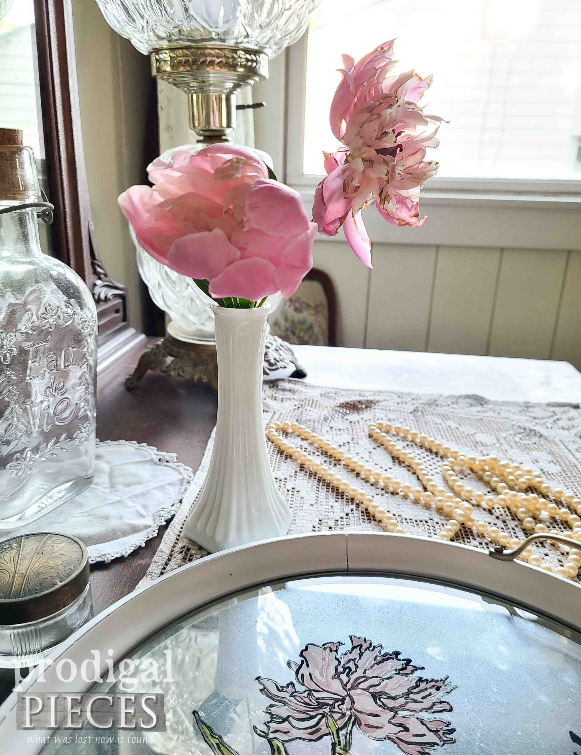 Pink Peony Flowers in Farmhouse Decor by Larissa of Prodigal Pieces | prodigalpieces.com #prodigalpieces #home #vintage #homedecor