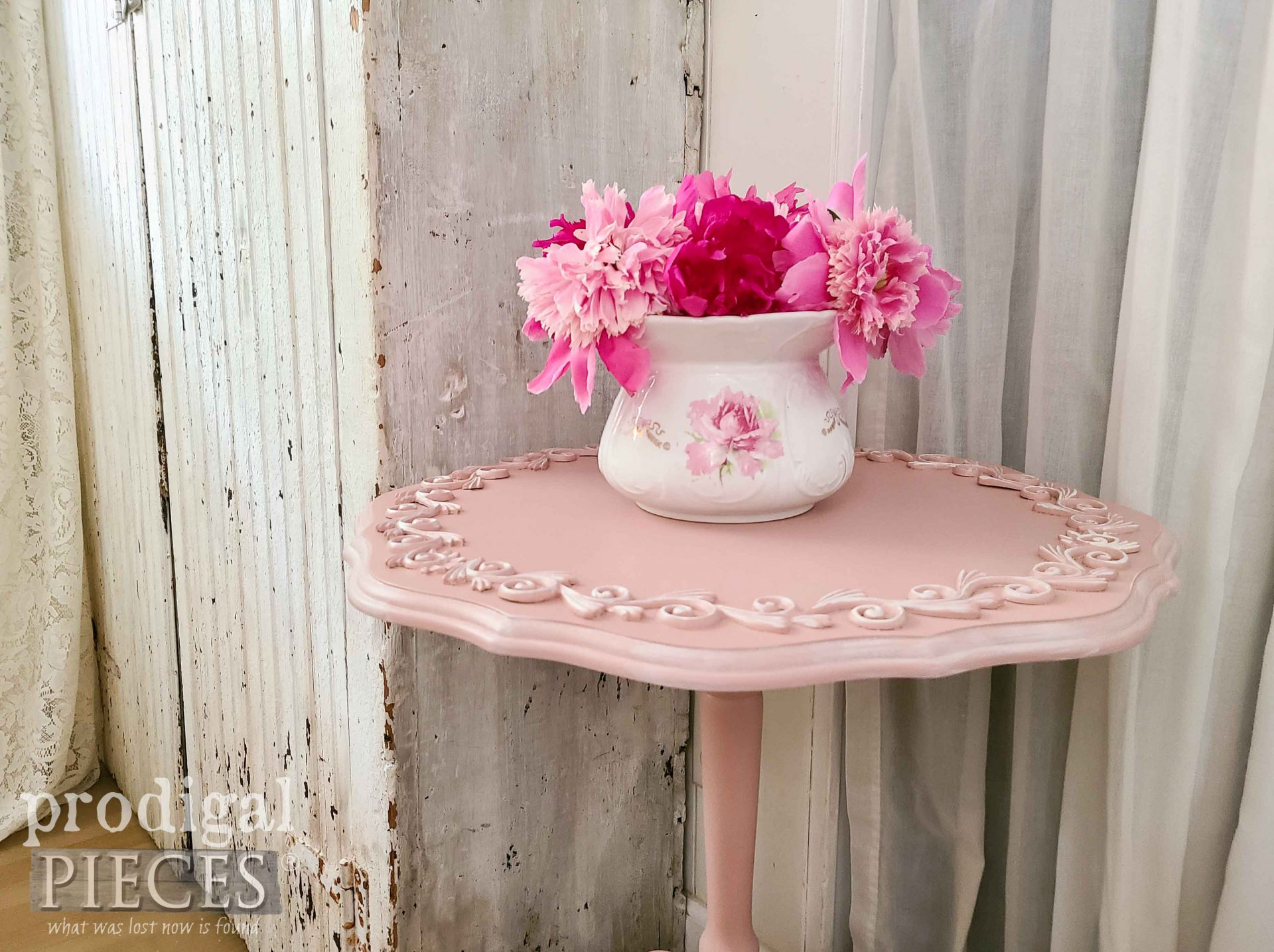 Pink Drop Leaf Tilt Top Table by Larissa of Prodigal Pieces | prodigalpieces.com #prodigalpieces #pink
