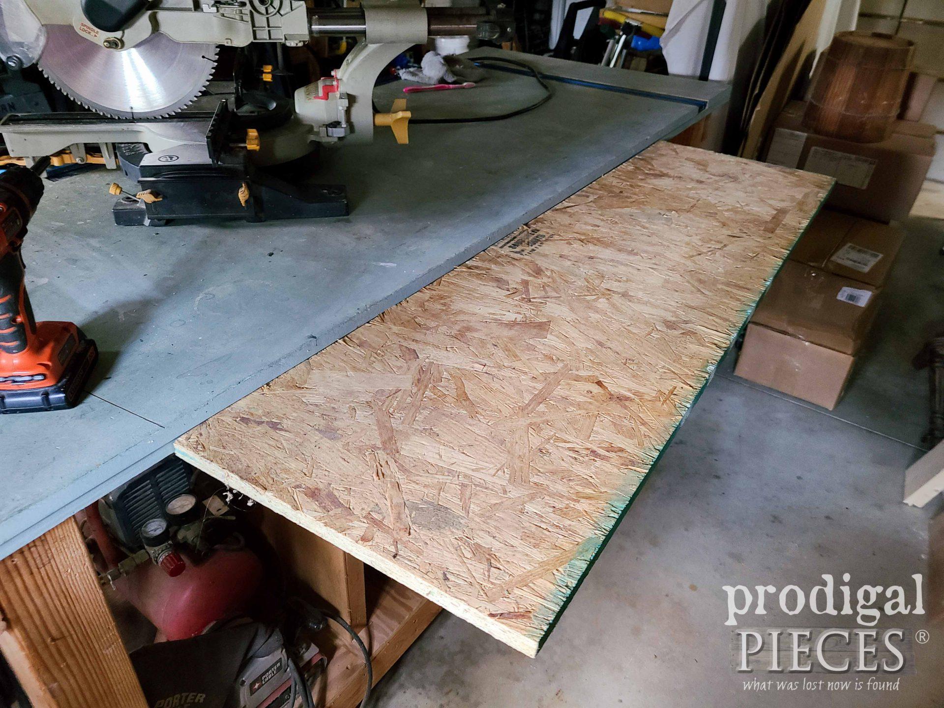Waffleboard Plywood Shelf for Miter Saw Hood   prodigalpieces.com