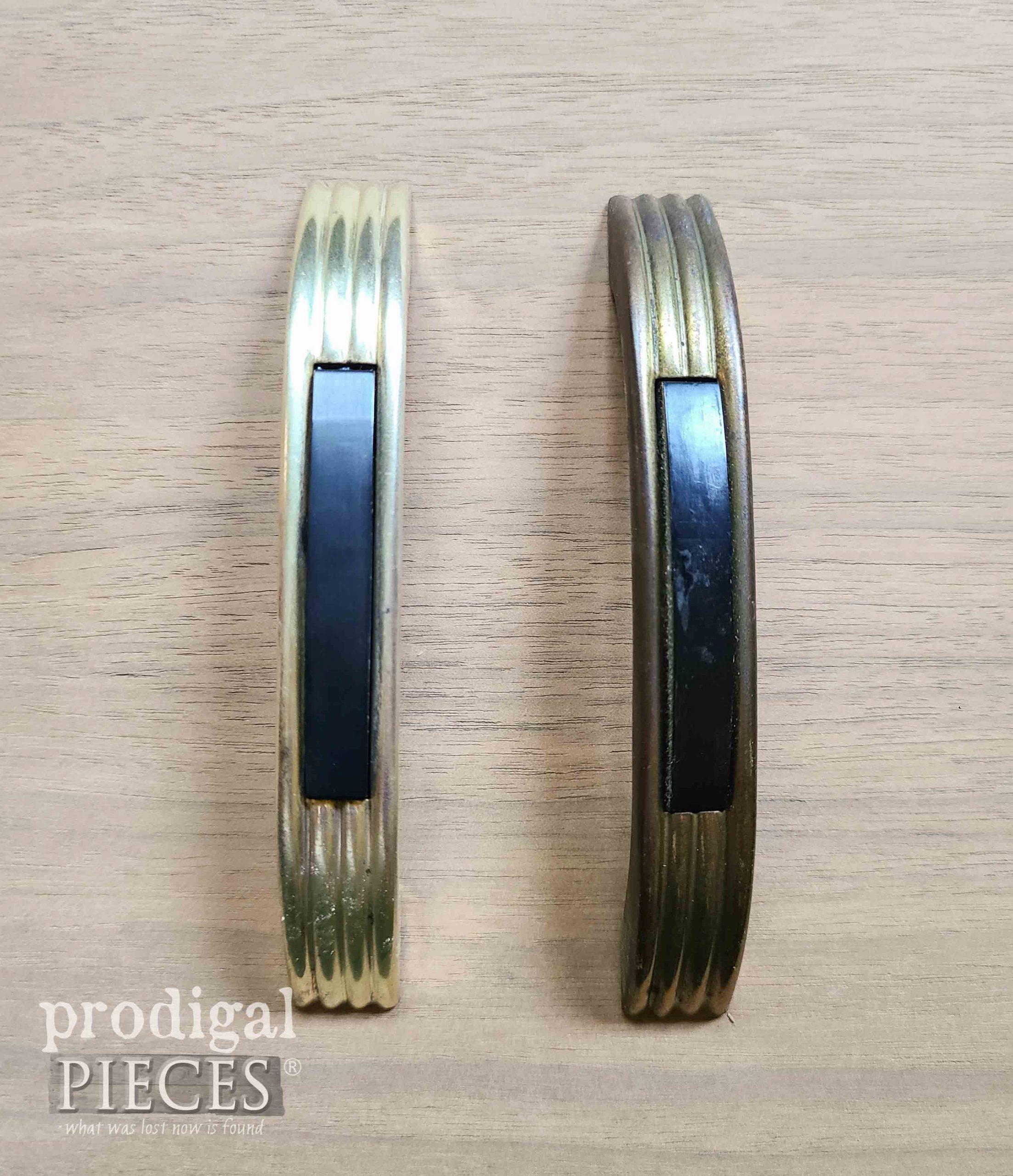 Polished Brass Pull on Vintage Sewing Desk Polished | prodigalpieces.com