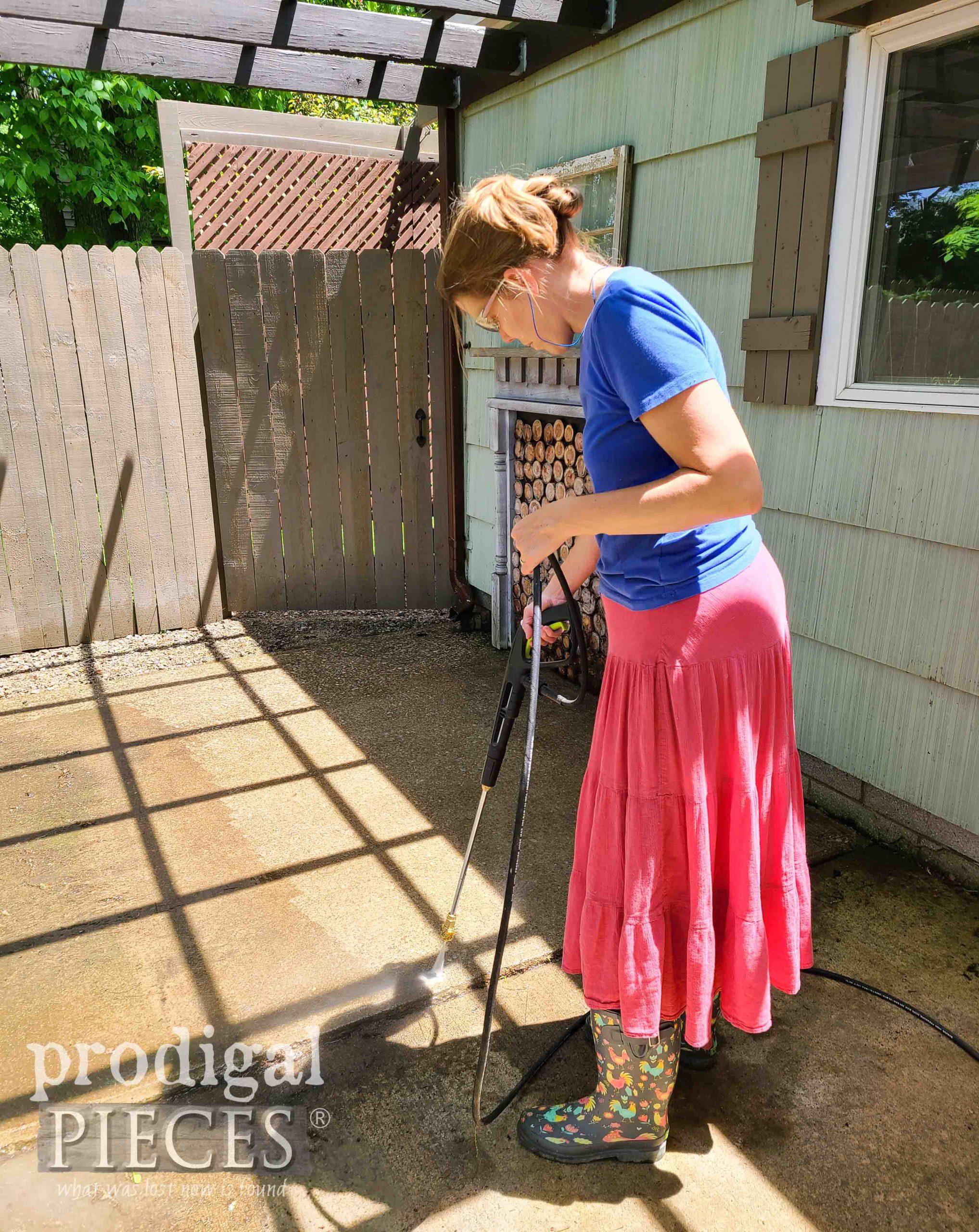 Pressure-Washing Patio | prodigalpieces.com