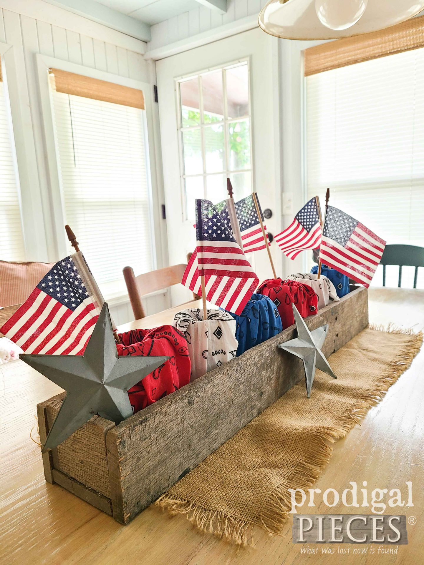 Reclaimed Wood Centerpiece Filled with Farmhouse Patriotic Decor by Larissa of Prodigal Pieces | prodigalpieces.com #prodigalpieces #farmhouse #independenceday #4thofjuly