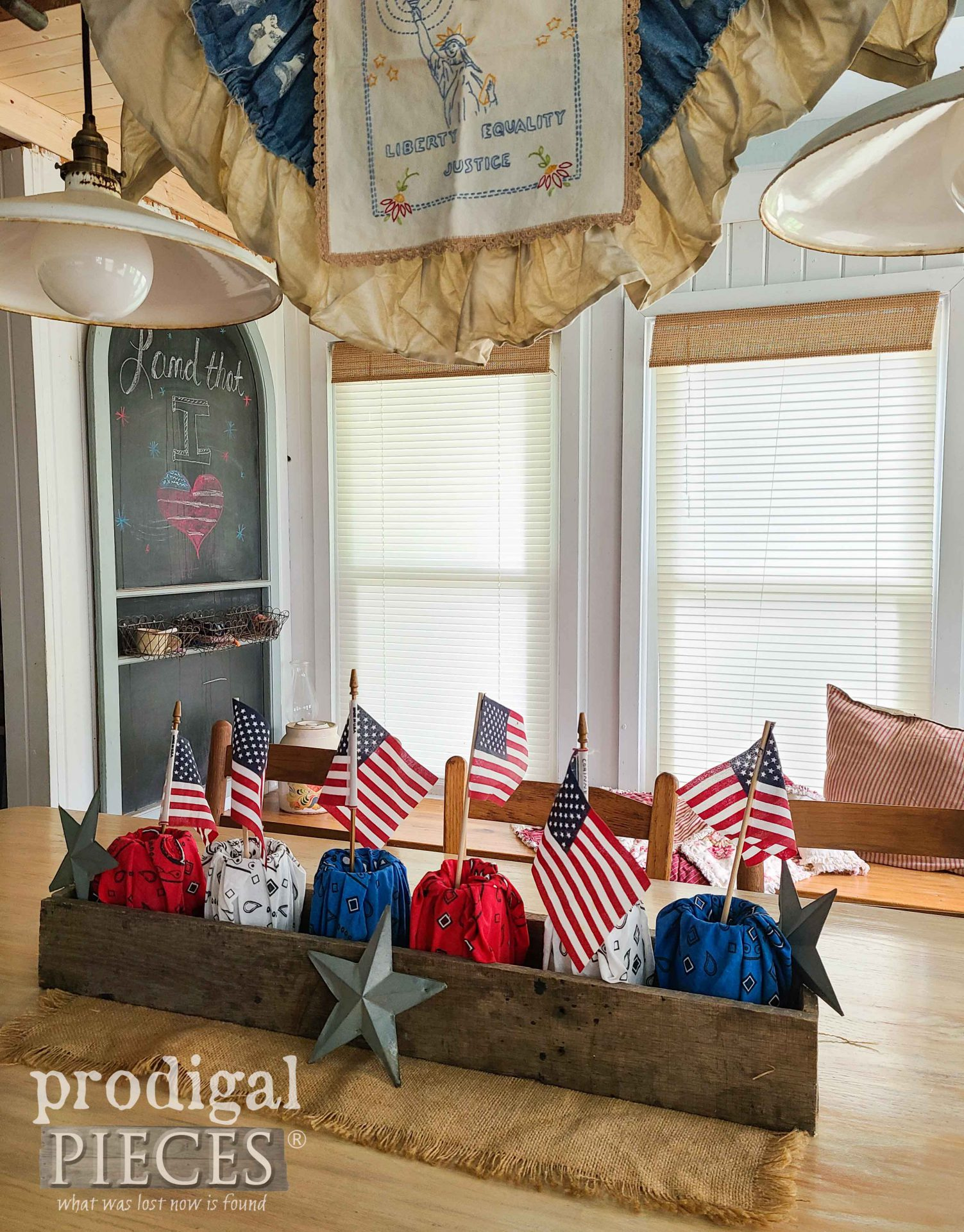 Refashioned Farmhouse Patriotic Bandanas in DIY Decor by Larissa of Prodigal Pieces | prodigalpieces.com #prodigalpieces #farmhouse #4thofjuly #diydecor #home