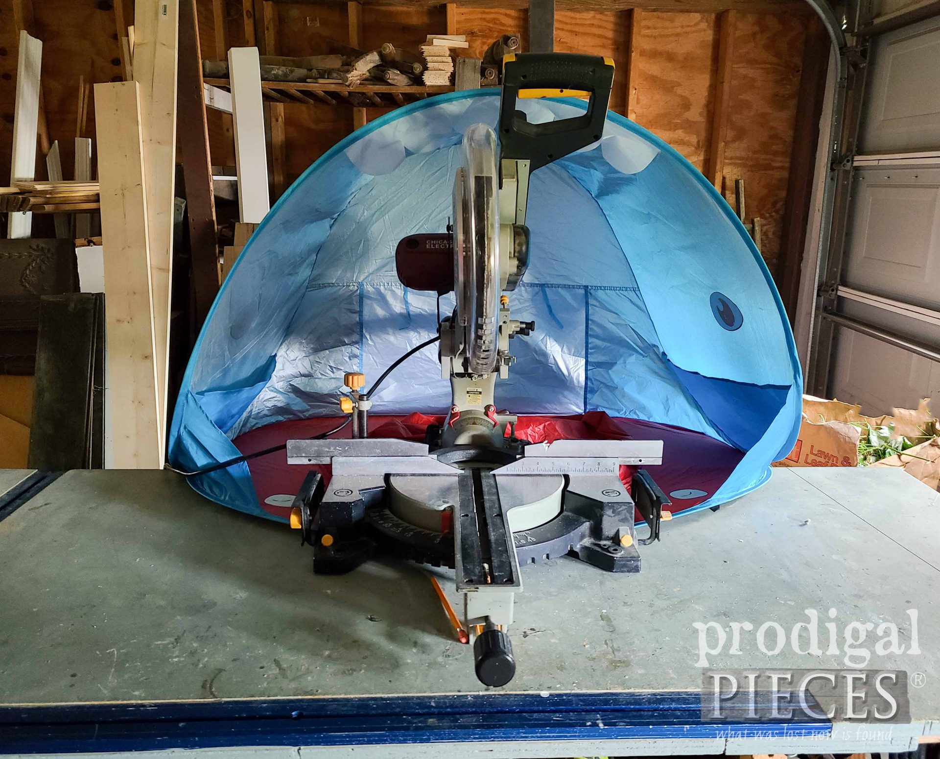 Whalte Baby Sun Tent Used for Miter Saw Hood   by Prodigal Pieces   prodigalpieces.com