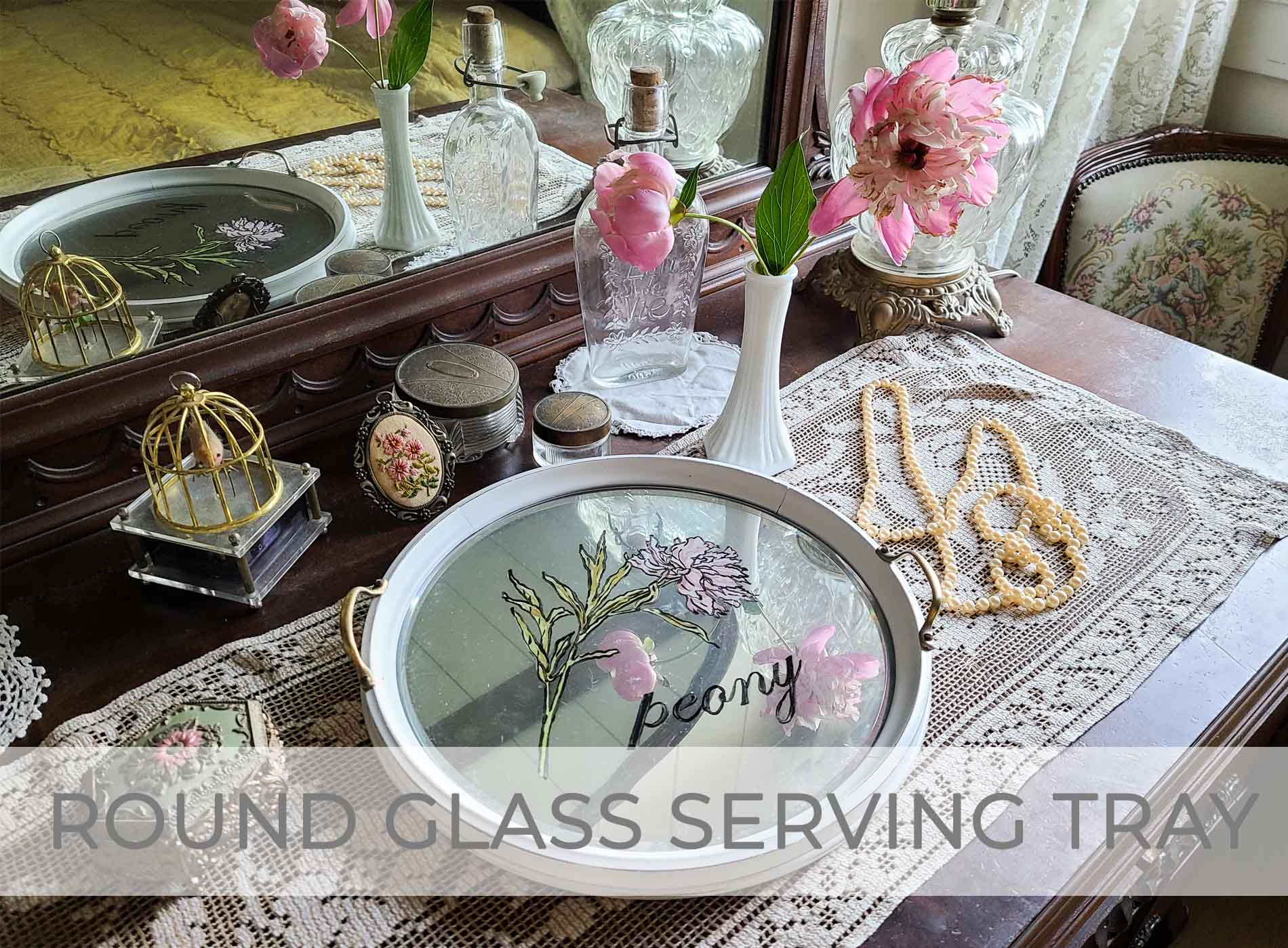 Round Glass Serving Tray Makeover by Larissa of Prodigal Pieces | prodigalpieces.com #prodigalpieces