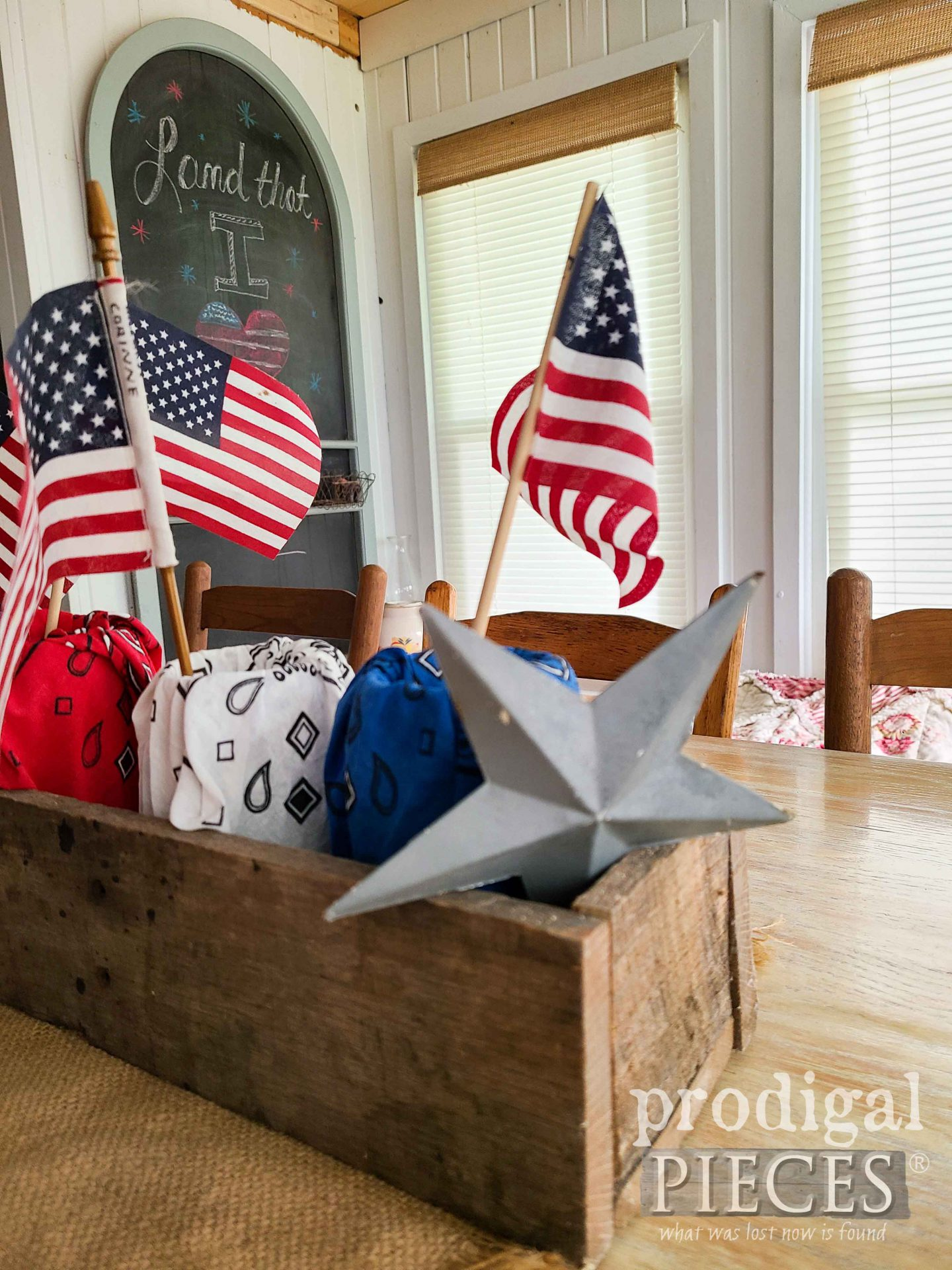 Rustic Farmhouse Patriotic Decor with Refashioned Bandanas for Independence Day Celebrations by Larissa of Prodigal Pieces | prodigalpieces.com #prodigalpieces #farmhouse #godblesstheusa #4thofjuly