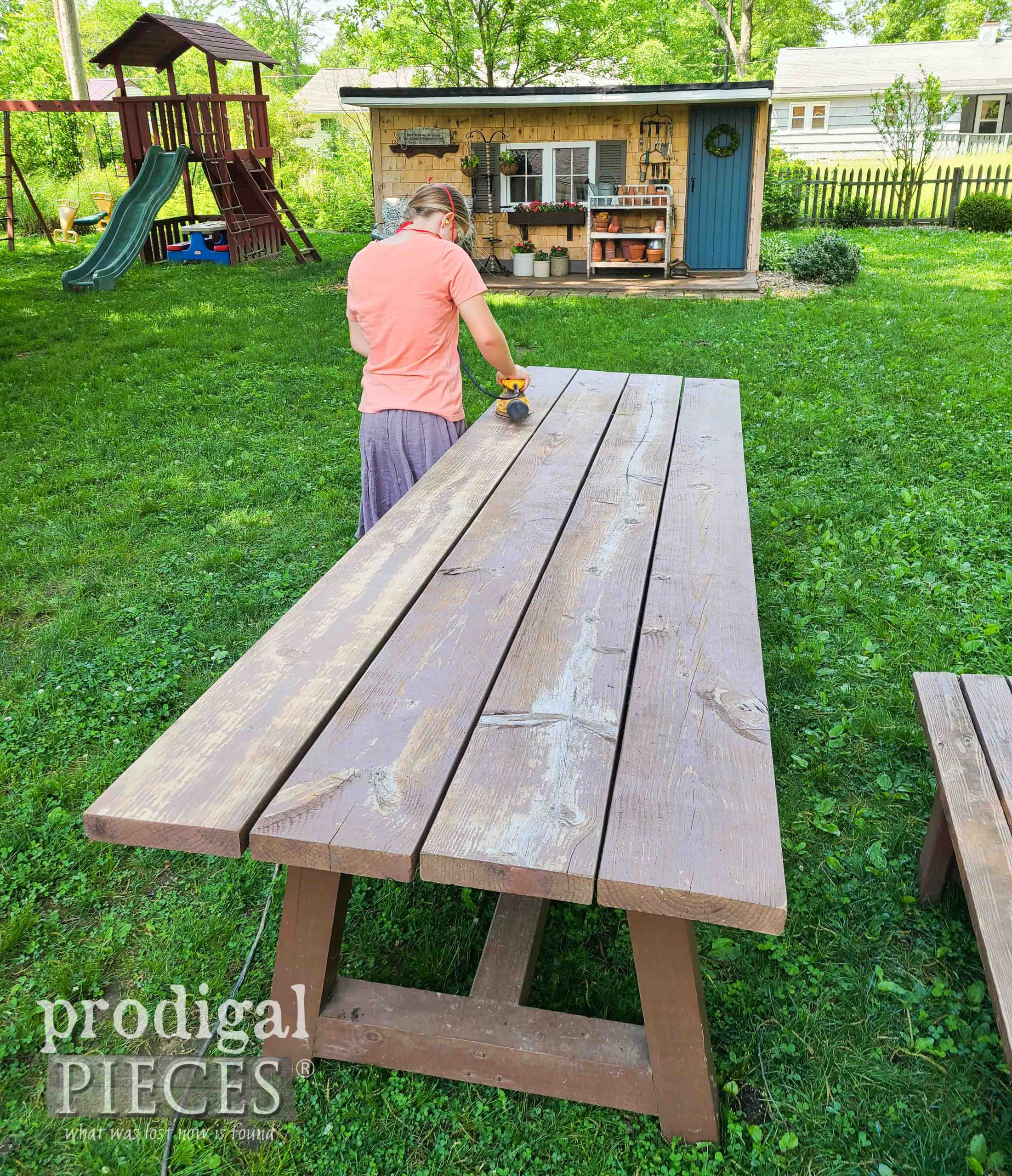 Kids Sanding Patio Table Top | prodigalpieces.com #prodigalpieces