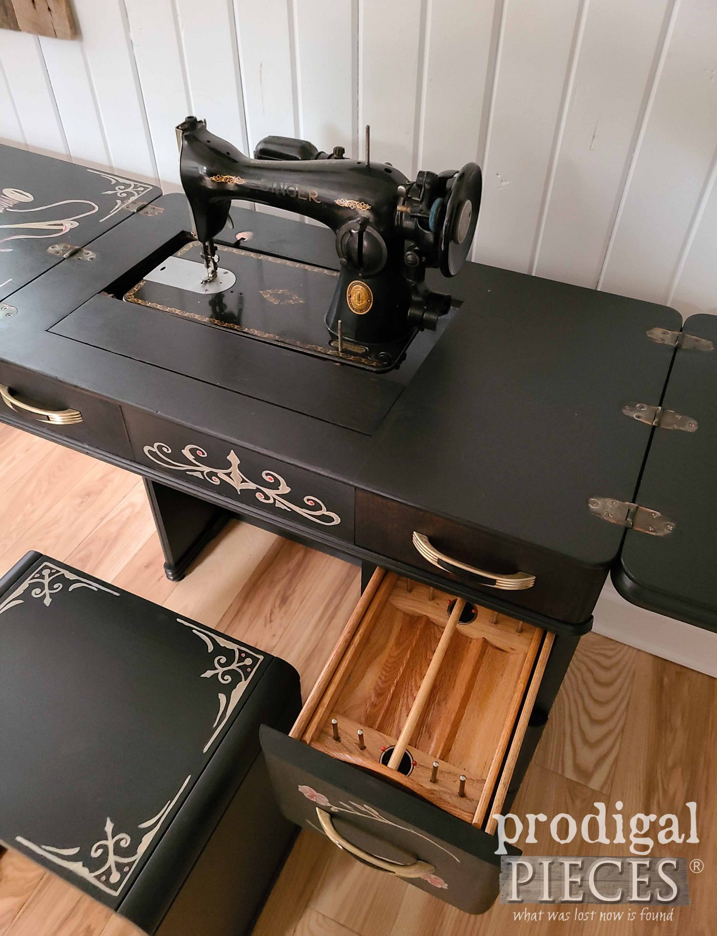 Sewing Notion Drawer with Removeable Tote in Art Deco Sewing Desk by Larissa of Prodigal Pieces | prodigalpieces.com #prodigalpieces #antique #home #diy