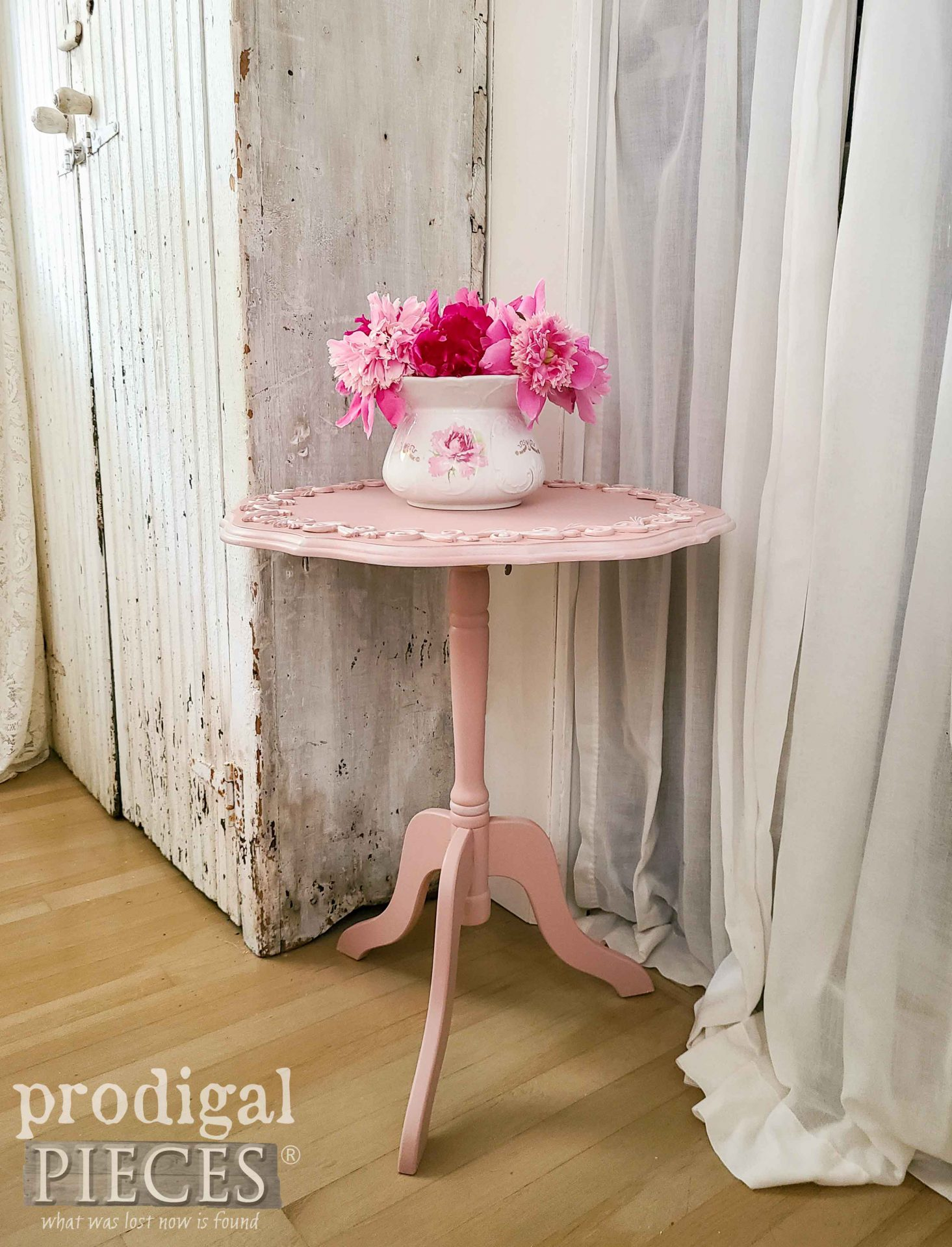 Shabby Chic Tilt Top Table with Scrollwork by Larissa of Prodigal Pieces | prodigalpieces.com #prodigalpieces #furntiure