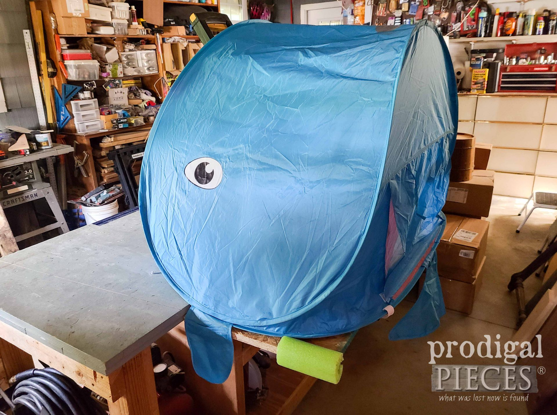 Side View Miter Saw Tent Dust Hood by Larissa of Prodigal Pieces   prodigalpieces.com #prodigalpieces