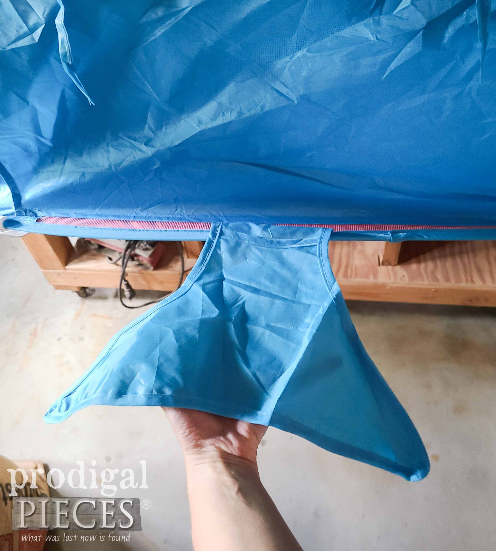 Whale Tent Tail   Miter Saw Dust Hood   Prodigal Pieces   prodigalpieces.com #prodigalpieces #diy