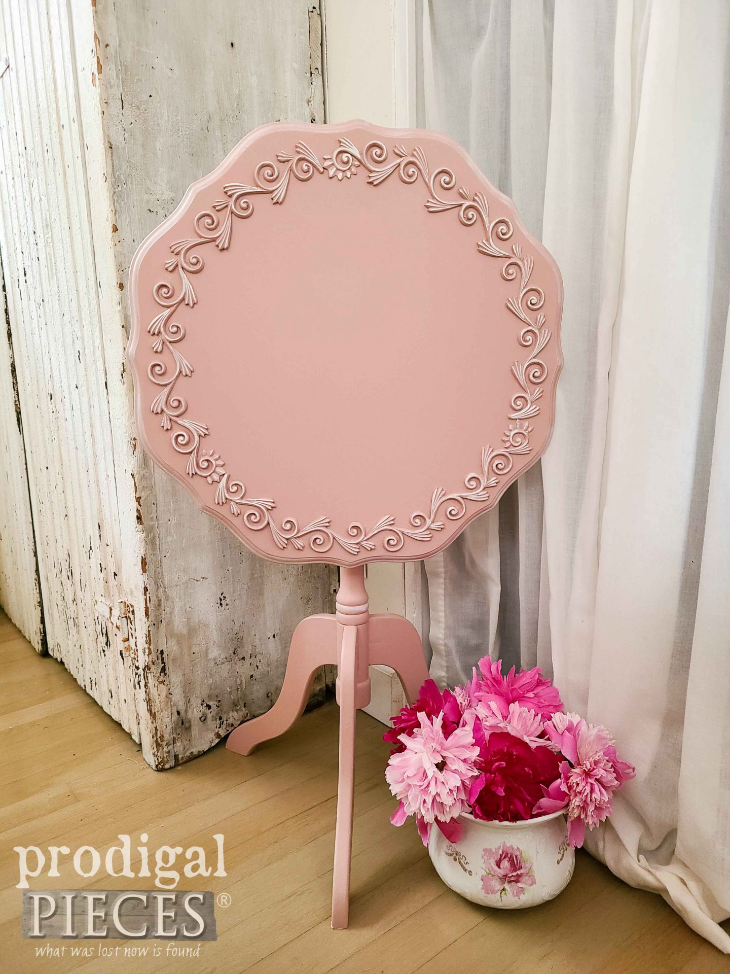 Tipped Tilt Top Table in Pink by Larissa of Prodigal Pieces | prodigalpieces.com #prodigalpieces #home #shabbychic #homedecor