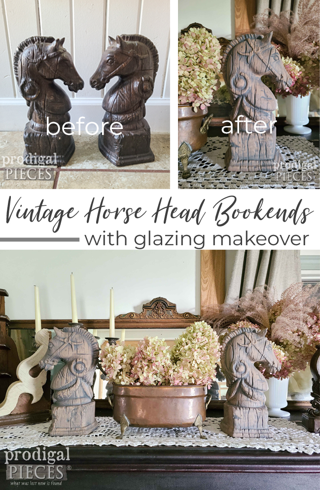 A thrifted set of vintage horse head bookends gets a much needed update with a glazing technique by Larissa of Prodigal Pieces | prodigalpieces.com #prodigalpieces #diy #home #farmhouse #homedecor