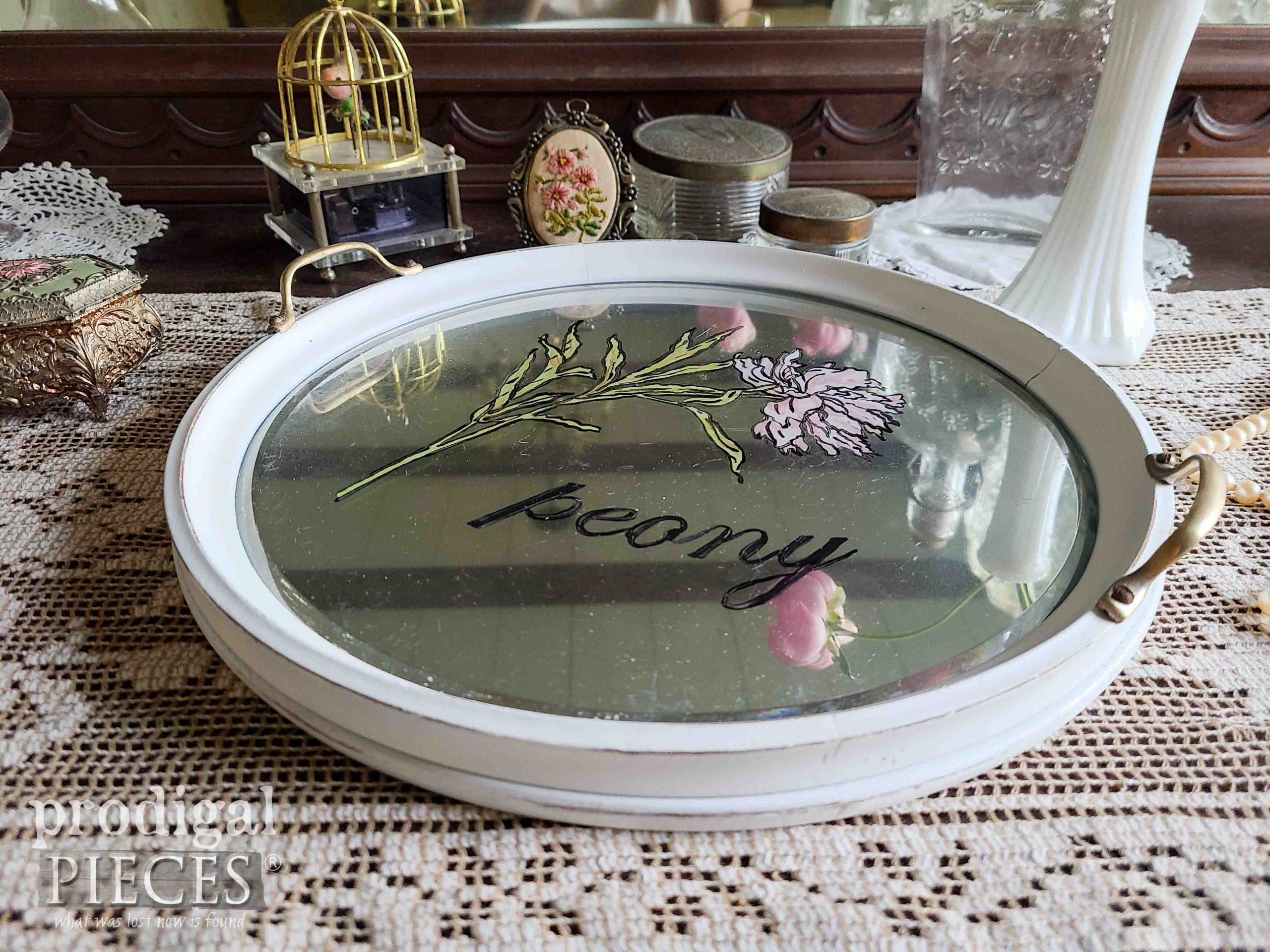 Vintage Round Mirrored Glass Serving Tray with Hand-Painted Peony Art by Larissa of Prodigal Pieces | prodigalpieces.com #prodigalpieces #tray #shabbychic #diy #home
