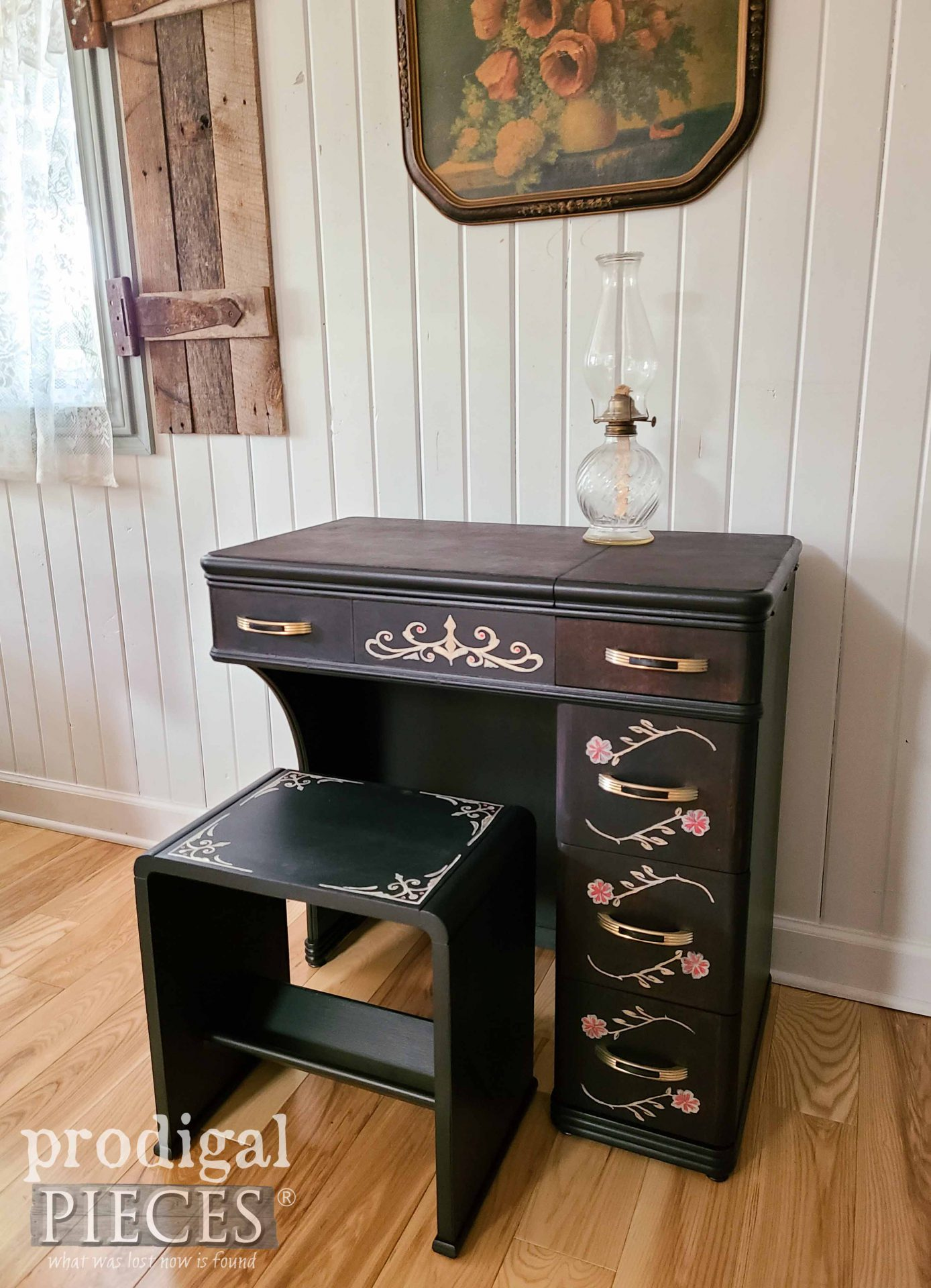 Vintage Sewing Desk with Hand-Painted Details by Larissa of Prodigal Pieces | prodigalpieces.com #prodigalpieces #diy #furntirue #sewing