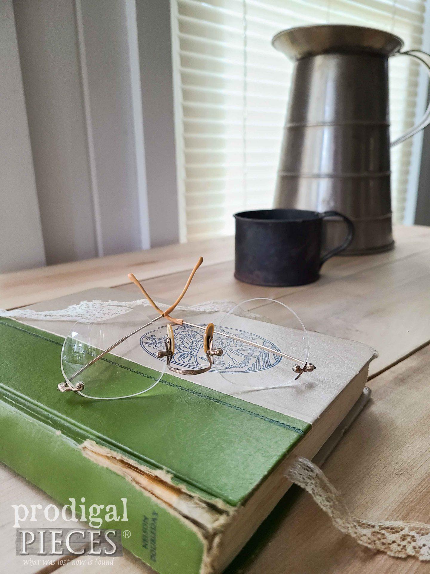 Antique Glasses on Farmhouse Desk | prodigalpieces.com #prodigalpieces #antique