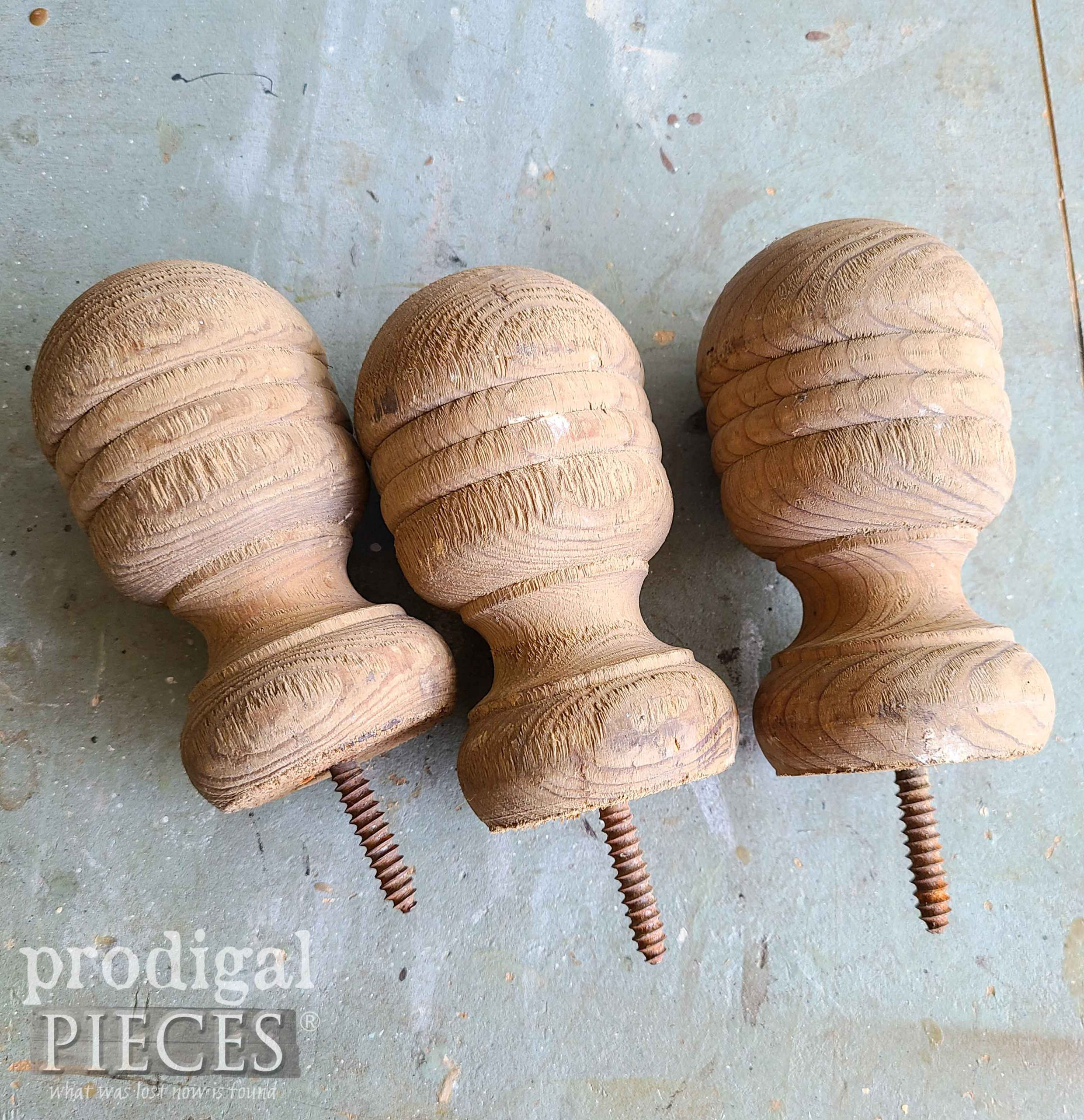 Antique Wooden Finials Before Upcycle | prodigalpieces.com