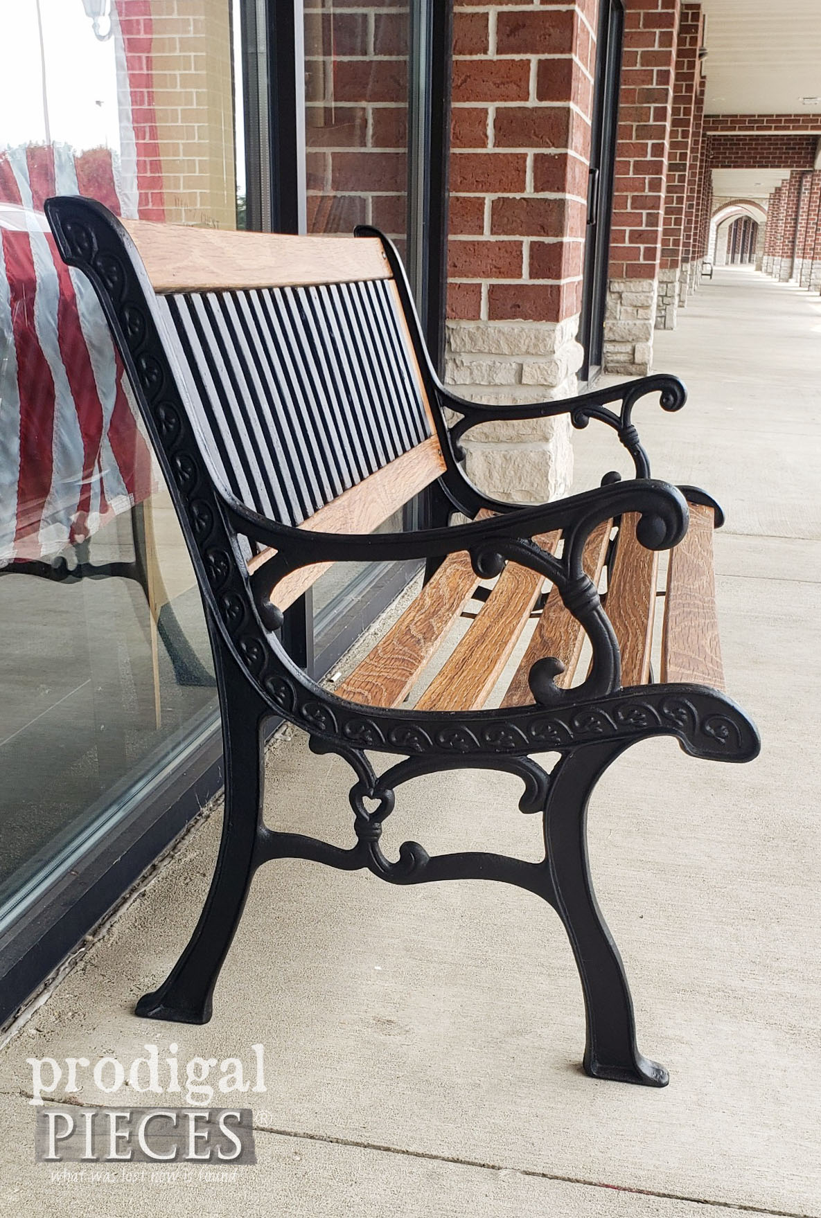 Refinished Wrought Iron Bench Side Refinished by Larissa of Prodigal Pieces | prodigalpieces.com #prodigalpieces