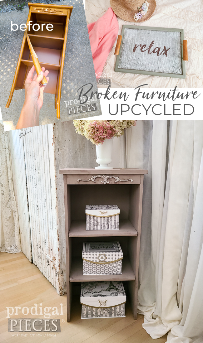 Broken furniture doesn't need to head to the landfill. Upcycle it! Come see how Larissa of Prodigal Pieces created these new items at prodigalpieces.com #prodigalpieces #furniture #upcycled #home #homedecor