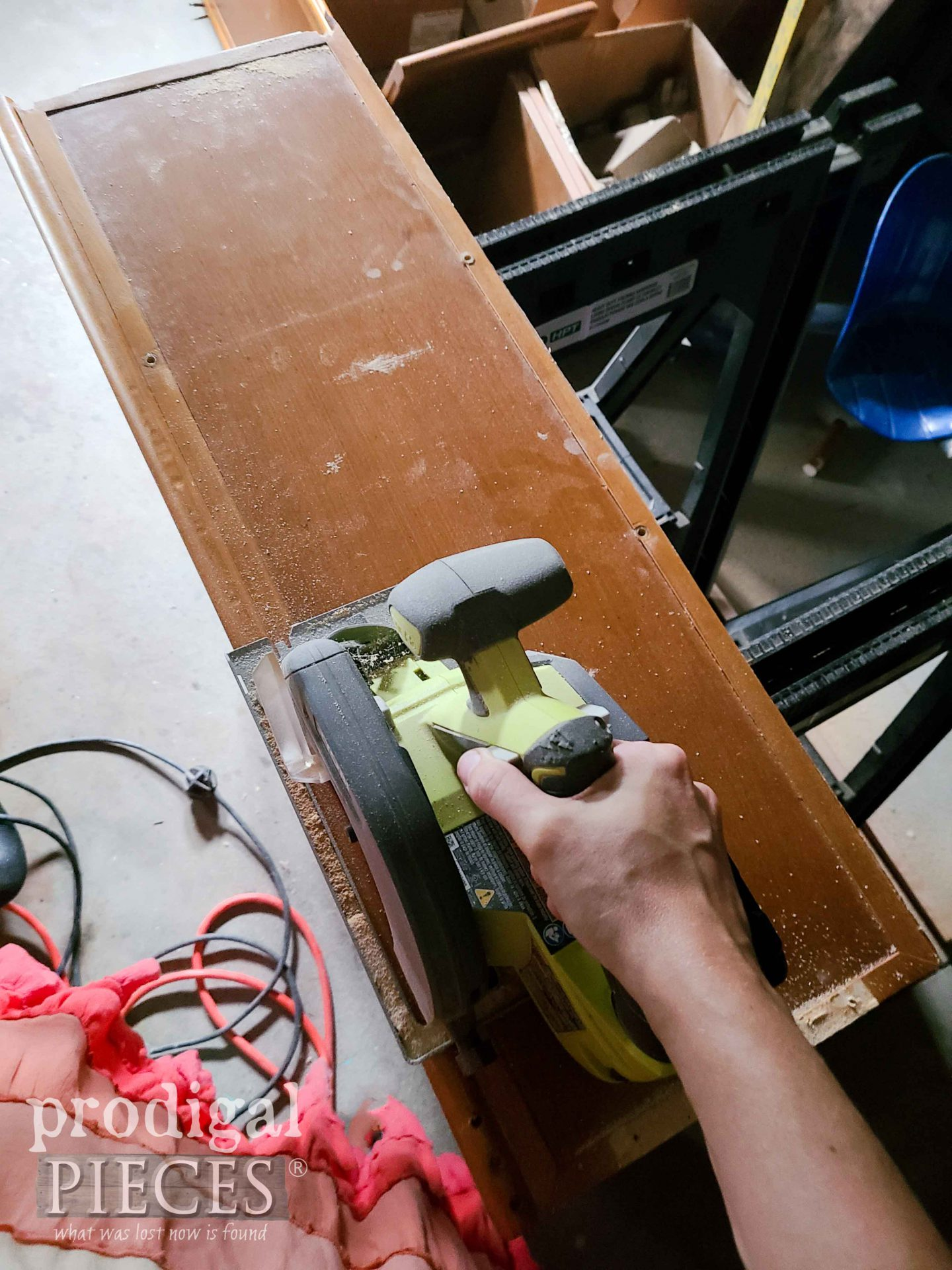 Using Circular Saw to Cut Broken Furniture | prodigalpieces.com