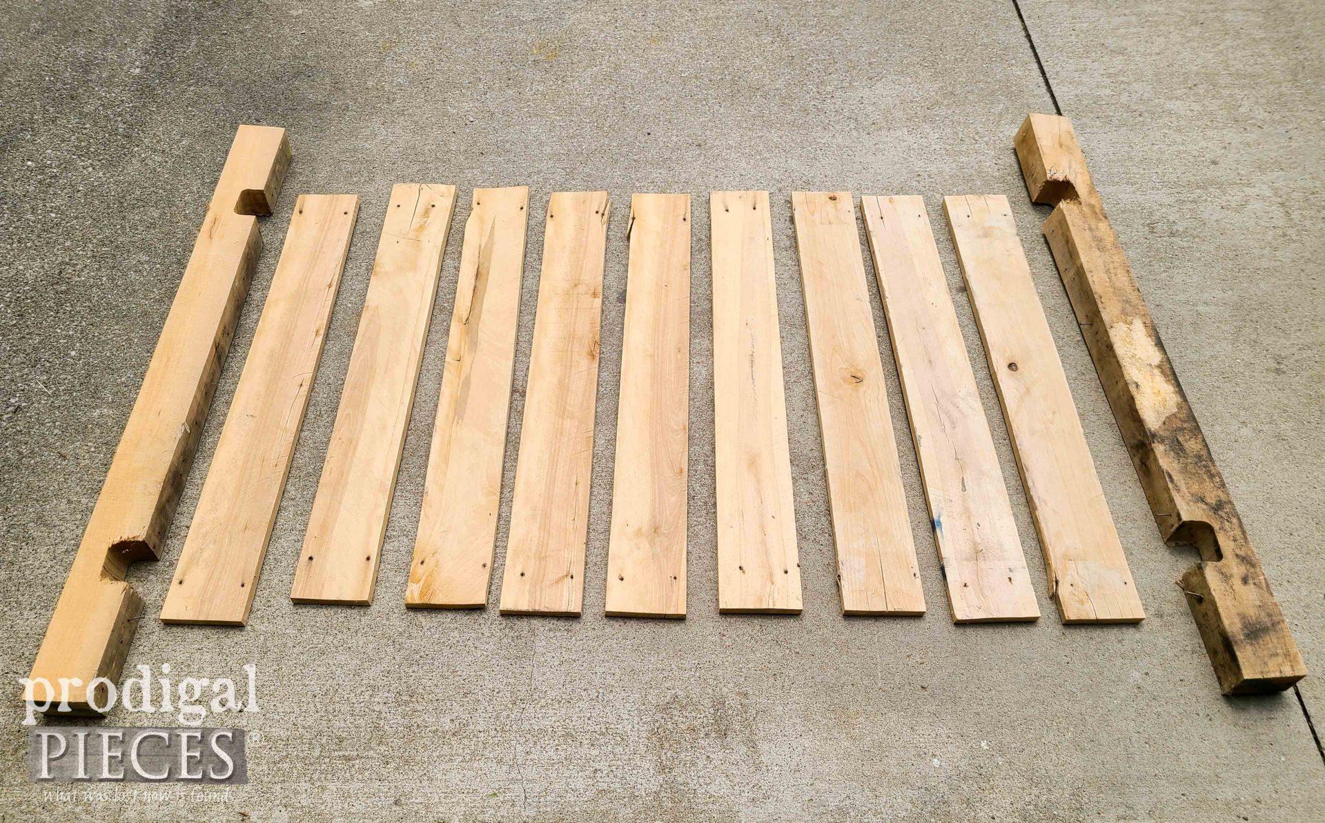 Disassembled Hardwood Pallet for Reclaimed Desk Set | prodigalpieces.com
