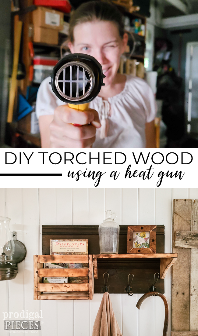 DIY Torched Wood Entry Shelf Coat Rack Tutorial by Larissa of Prodigal Pieces | prodigalpieces.com #prodigalpieces #diy #tutorial #home #farmhouse #homedecor