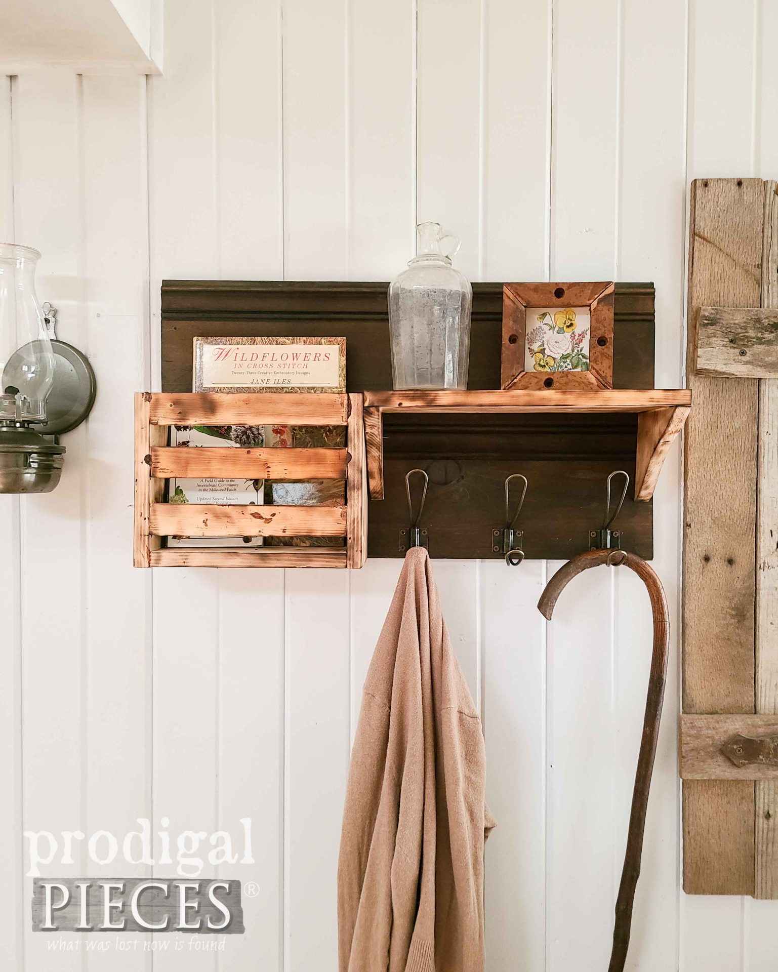 Farmhouse Coat Rack Entry Shelf with DIY Torched Wood Tutorial by Larissa of Prodigal Pieces | prodigalpieces.com #prodigalpieces #farmhouse #diy #woodworking #tutorial #tools