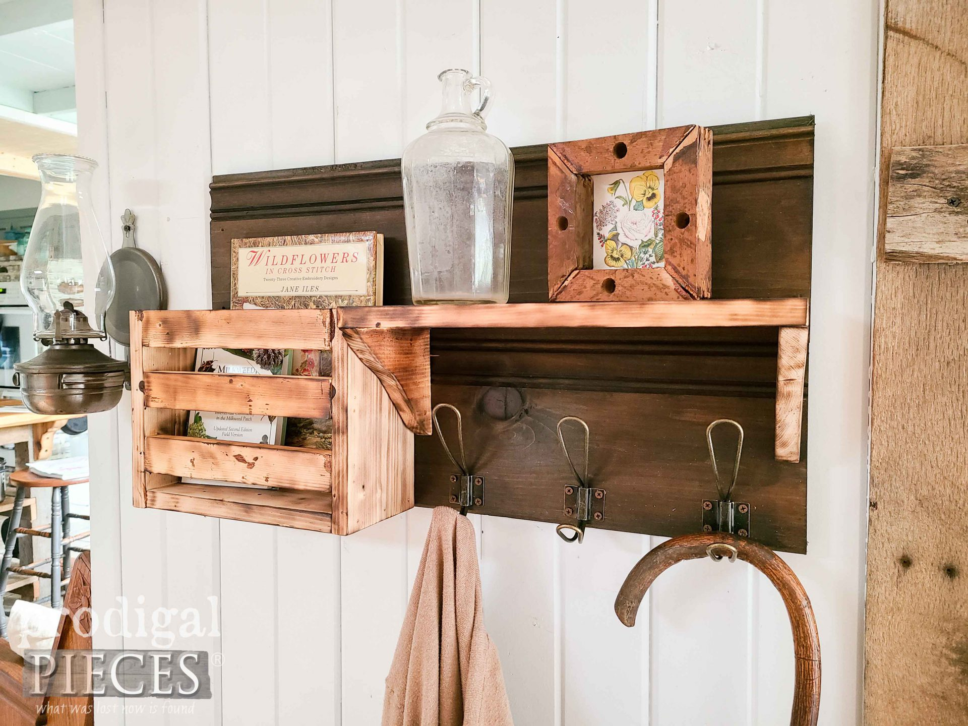 Farmhouse Entry Shelf with Coat Hooks & DIY Scorched Wood Tutorial by Larissa of Prodigal Pieces | prodigalpieces.com #prodigalpieces #farmhouse #diy #tutorial #home