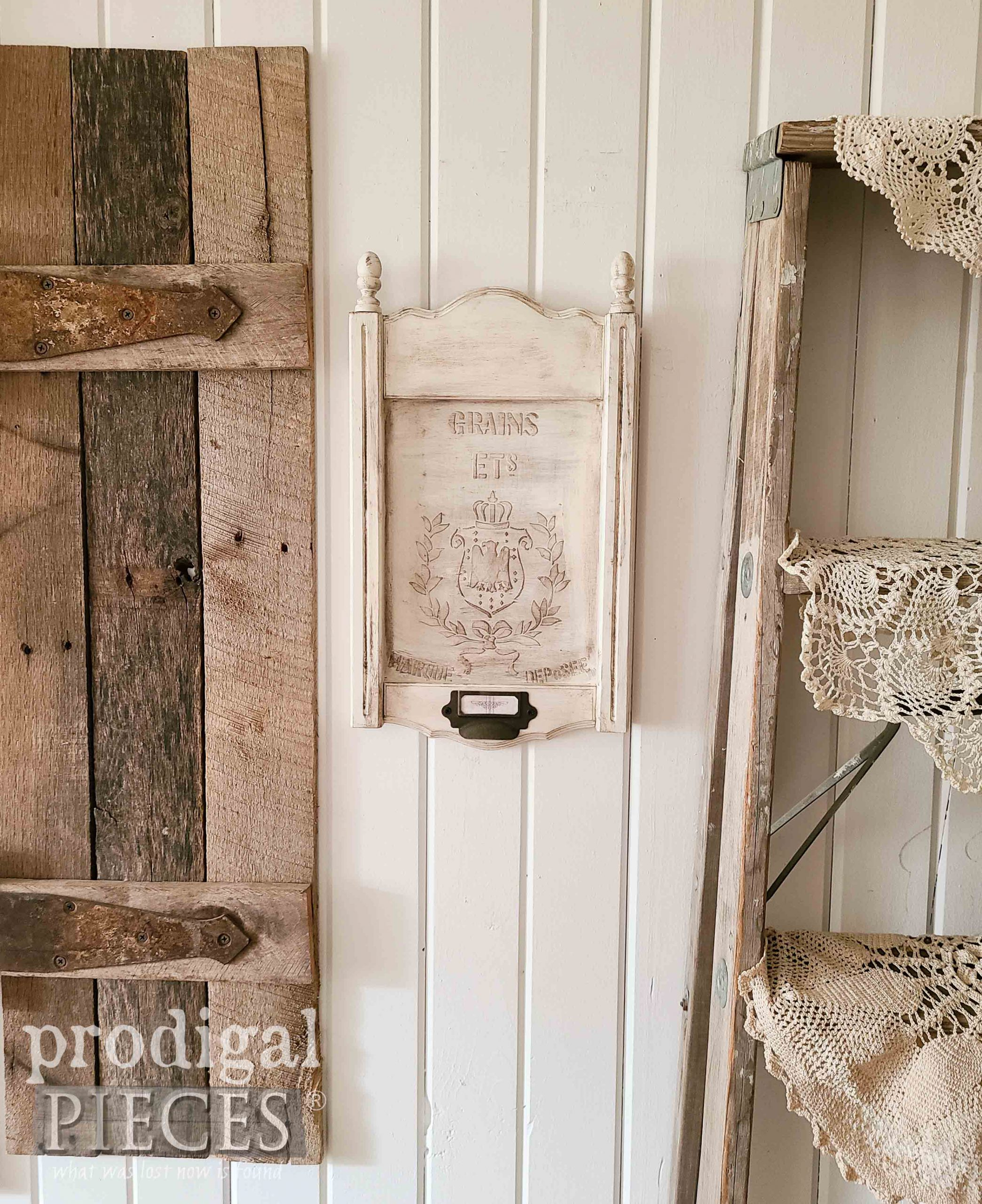 Faux Grain Sack Wall Art with DIY Embossing by Larissa of Prodigal Pieces | prodigalpieces.com #prodigalpieces #diy #crafts #home #farmhouse #homedecor