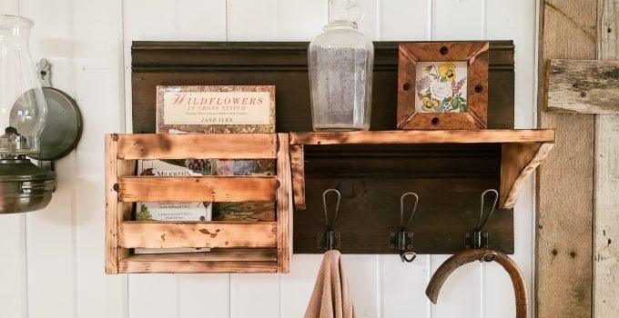 DIY Scorched Wood Storage Shelf