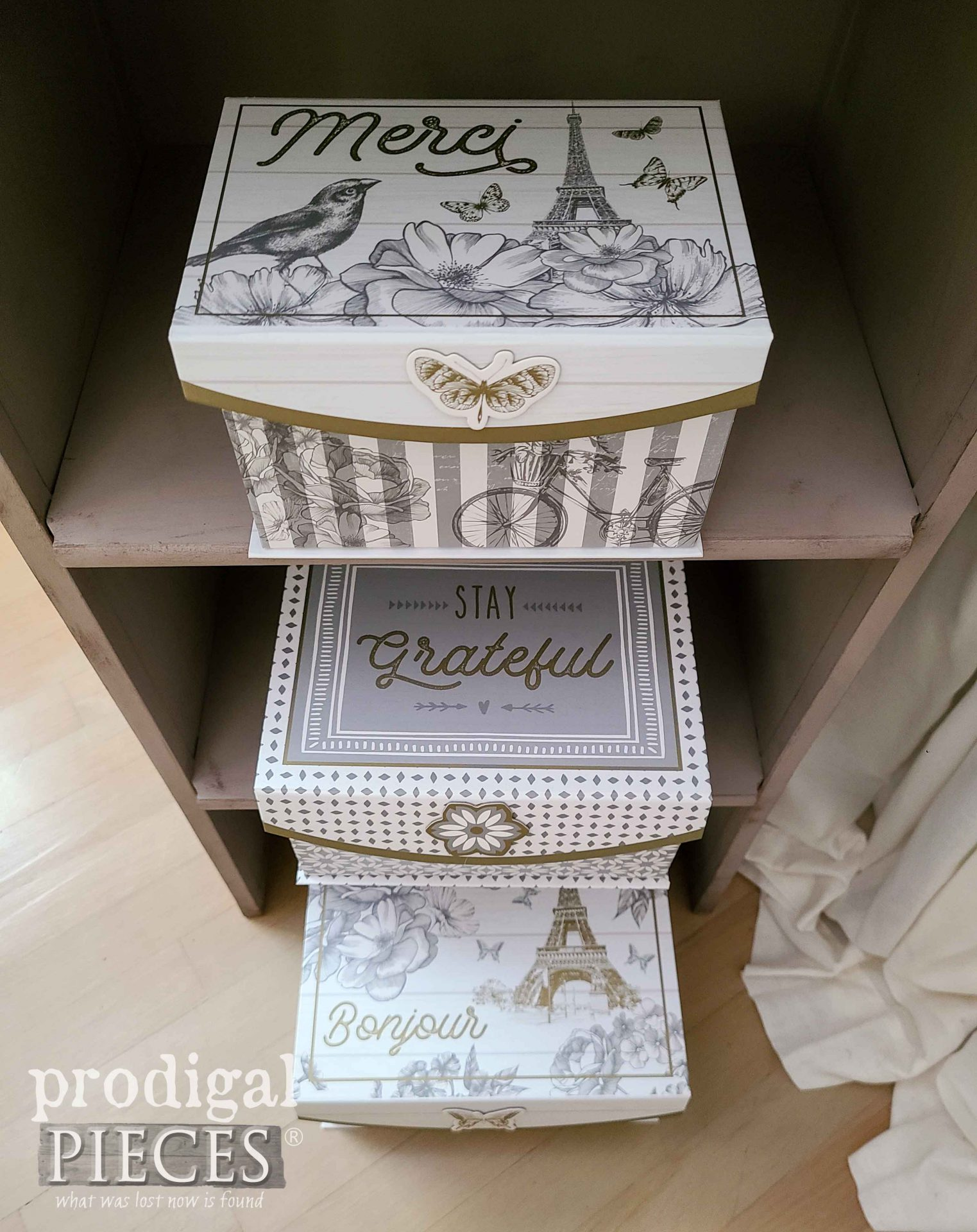French Chic Storage Boxes by Prodigal Pieces | prodigalpieces.com #prodigalpieces #storage #french #chic