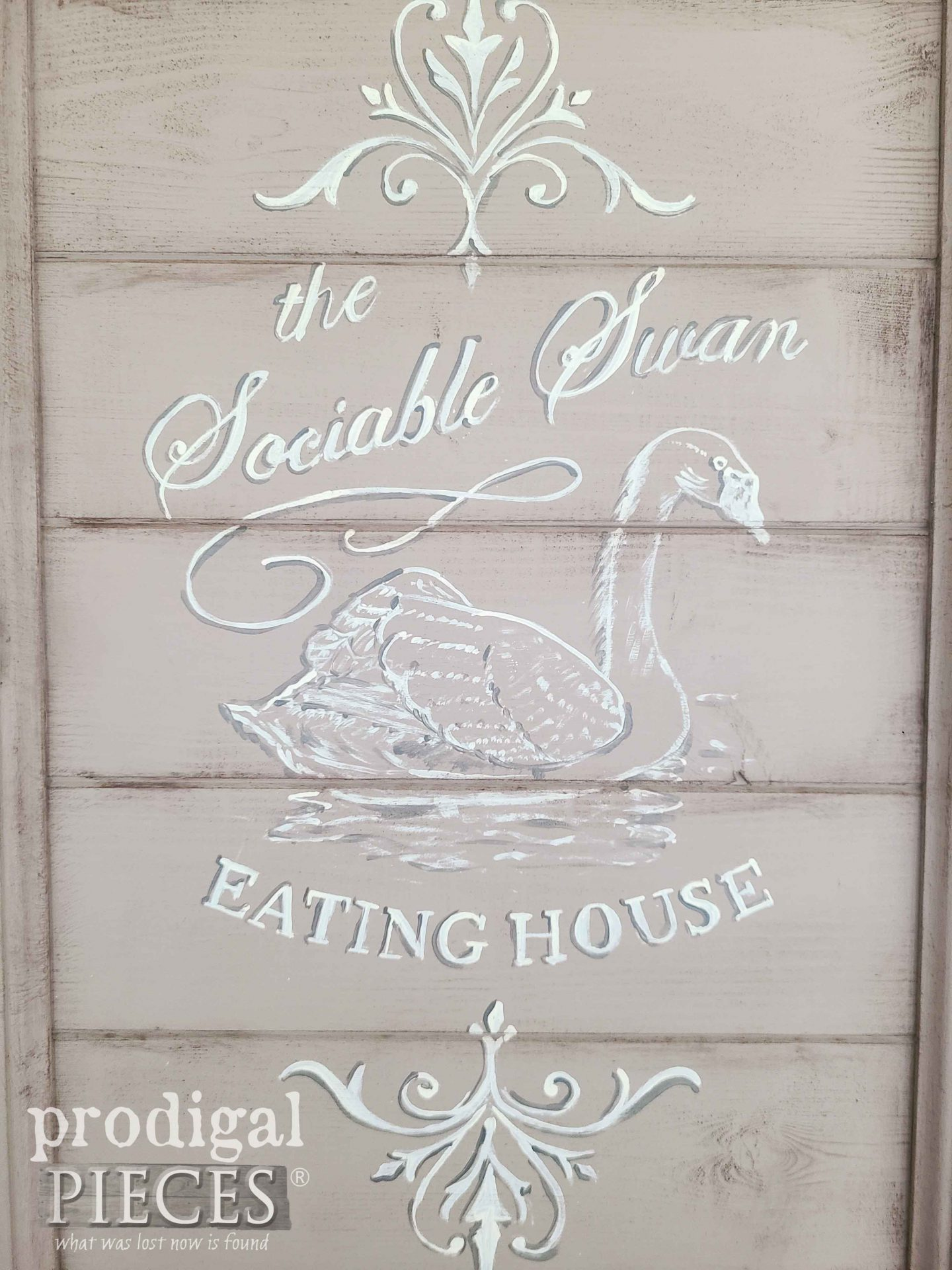 Hand-Painted Typography on Wall Cabinet | prodigalpieces.com #prodigalpieces #diy #farmhouse #art