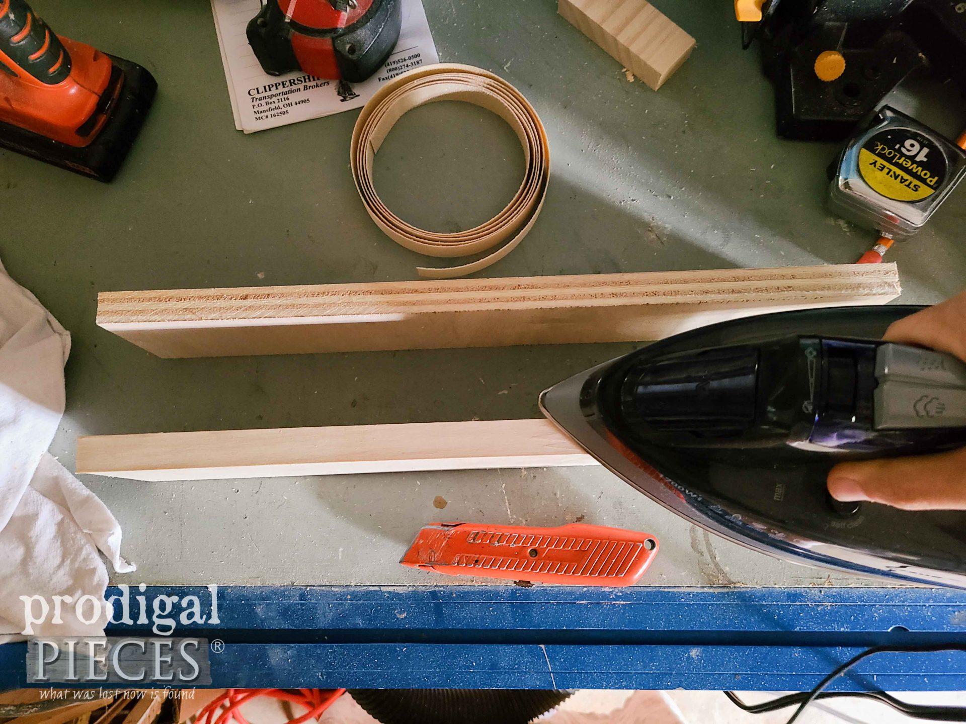 Ironing on Veneer to Cabinet Shelf | prodigalpieces.com