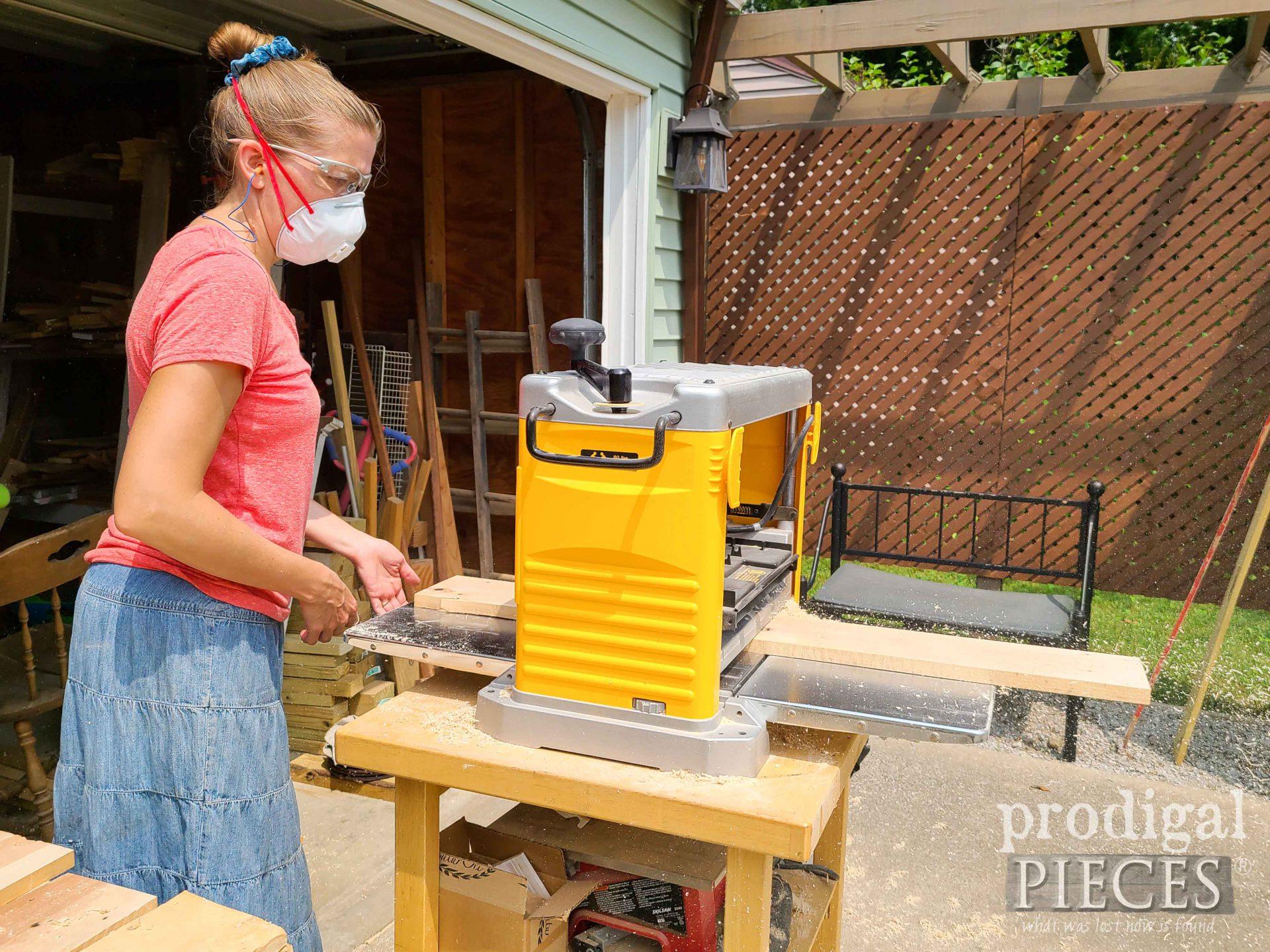Larissa of Prodigal Pieces Planing Pallet Wood for Reclaimed Desk Set | prodigalpieces.com