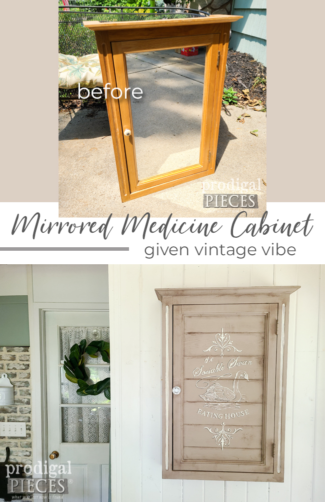 A vintage mirrored medicine cabinet gets a new look and function with DIY fun by Larissa of Prodigal Pieces | Details at prodigalpieces.com #prodigalpieces #diy #home #farmhouse #homedecor #storage