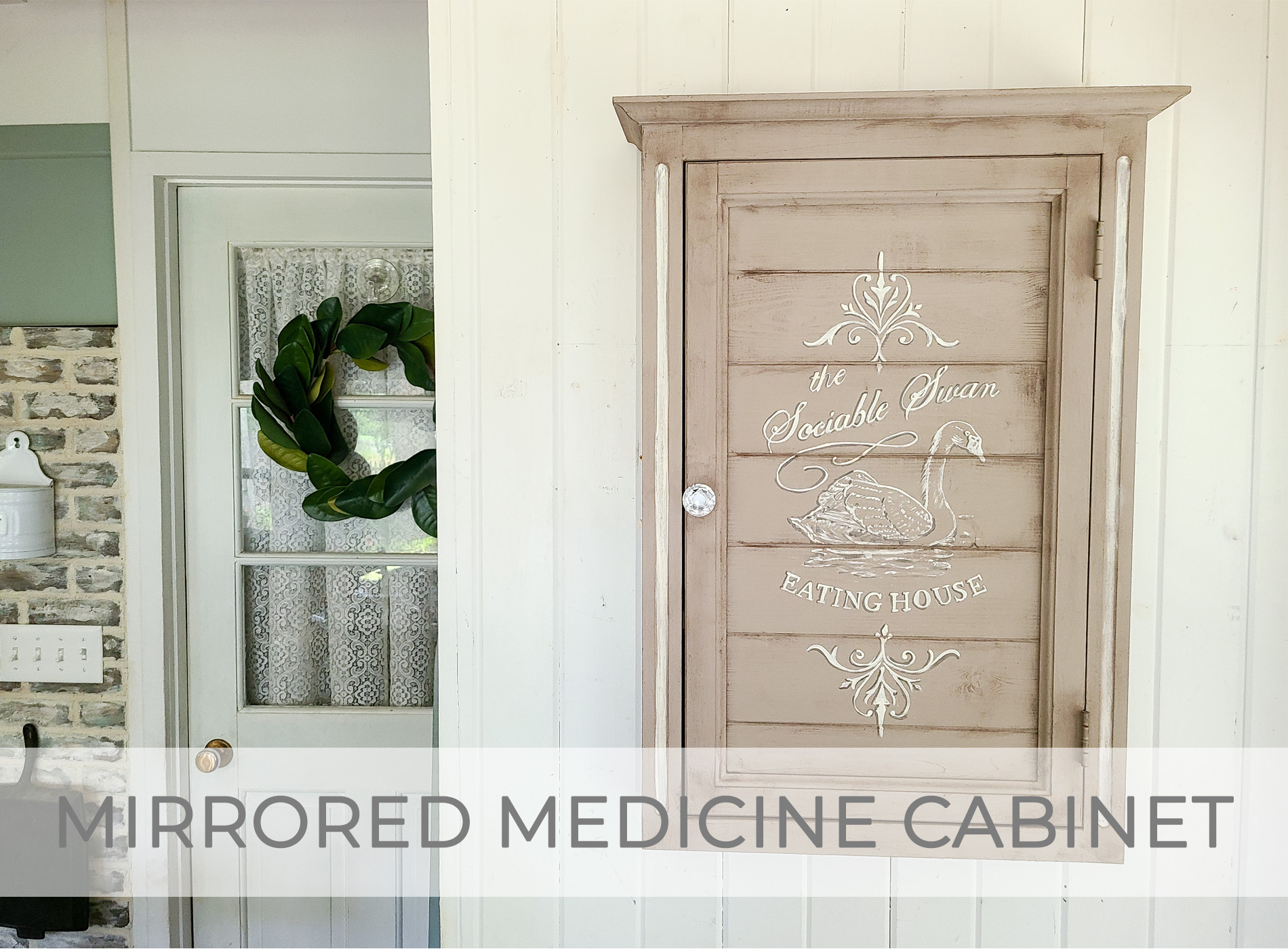 Vintage Mirrored Medicine Cabinet turned French Farmhouse Wall Cabinet by Larissa of Prodigal Pieces | prodigalpieces.com