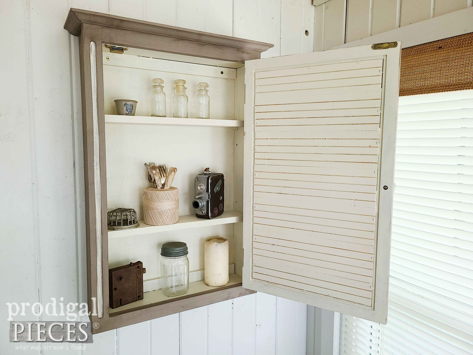 Open Wall Cabinet with Adjustable Shelves from Mirrored Medicine Cabinet by Larissa of Prodigal Pieces | prodigalpieces.com #prodigalpieces #home #cabinet #storage
