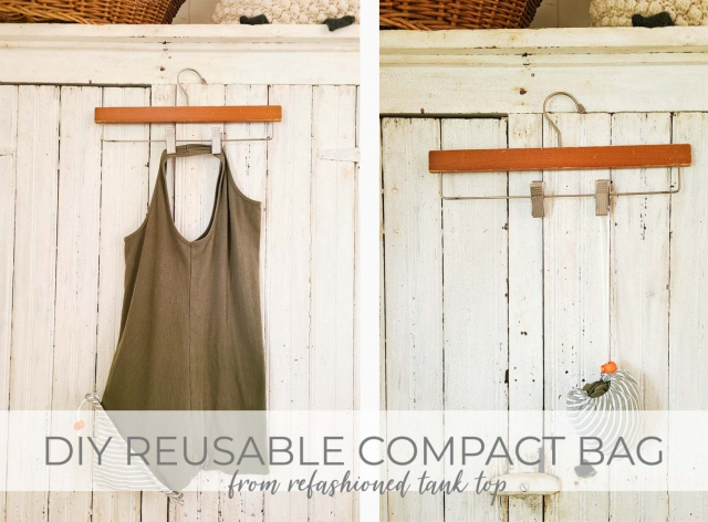 DIY Refashioned Reusable Compact Shopping Bag from Tank Top Tutorial by Larissa of Prodigal Pieces | prodigalpieces.com #prodigalpieces #sewing #refashion #handmade #shopping