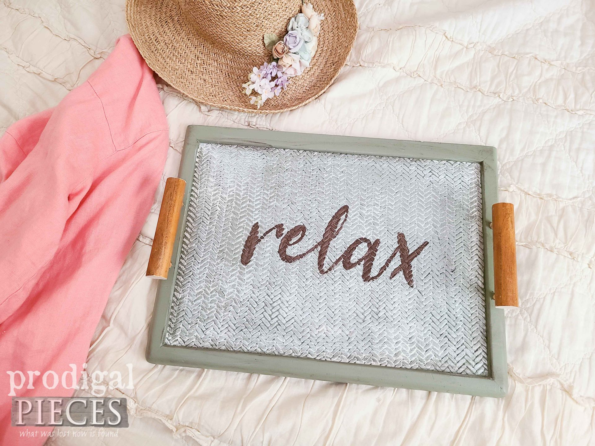 """Handmade """"Relax"""" Bed Tray made by Larissa of Prodigal Pieces 