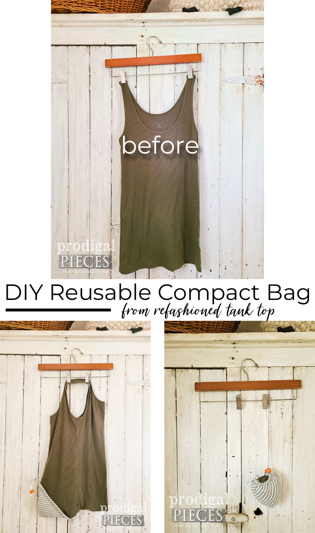 Make a DIY reusable compact shopping bag from a tank top with tutorial by Larissa of Prodigal Pieces | prodigalpieces.com #prodigalpieces #refashion #shopping #sewing #bag #home