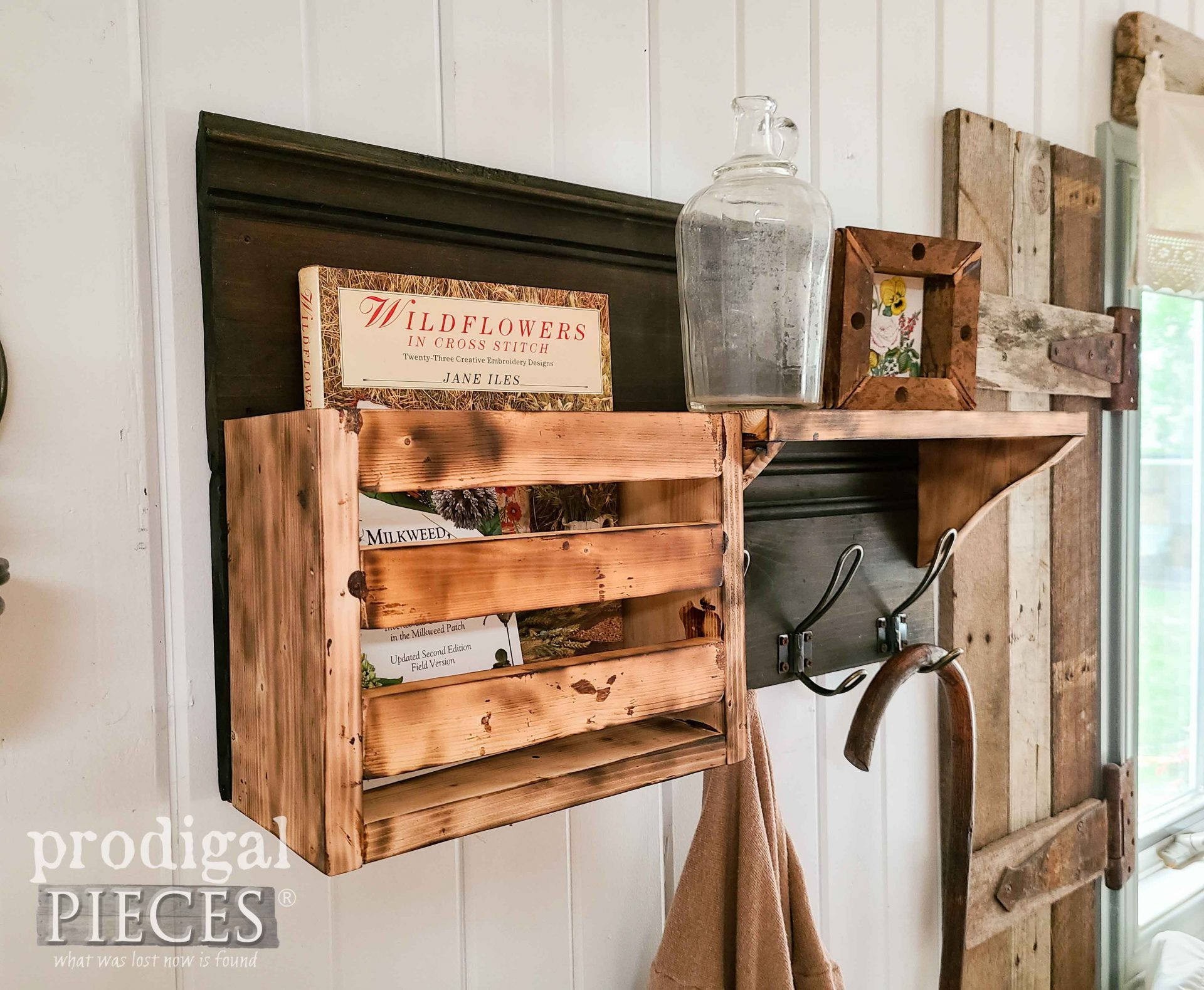 Rustic Scorched Coat Rack with Tutorial by Larissa of Prodigal Pieces | prodigalpieces.com #prodigalpieces #rustic #farmhouse #home #diy