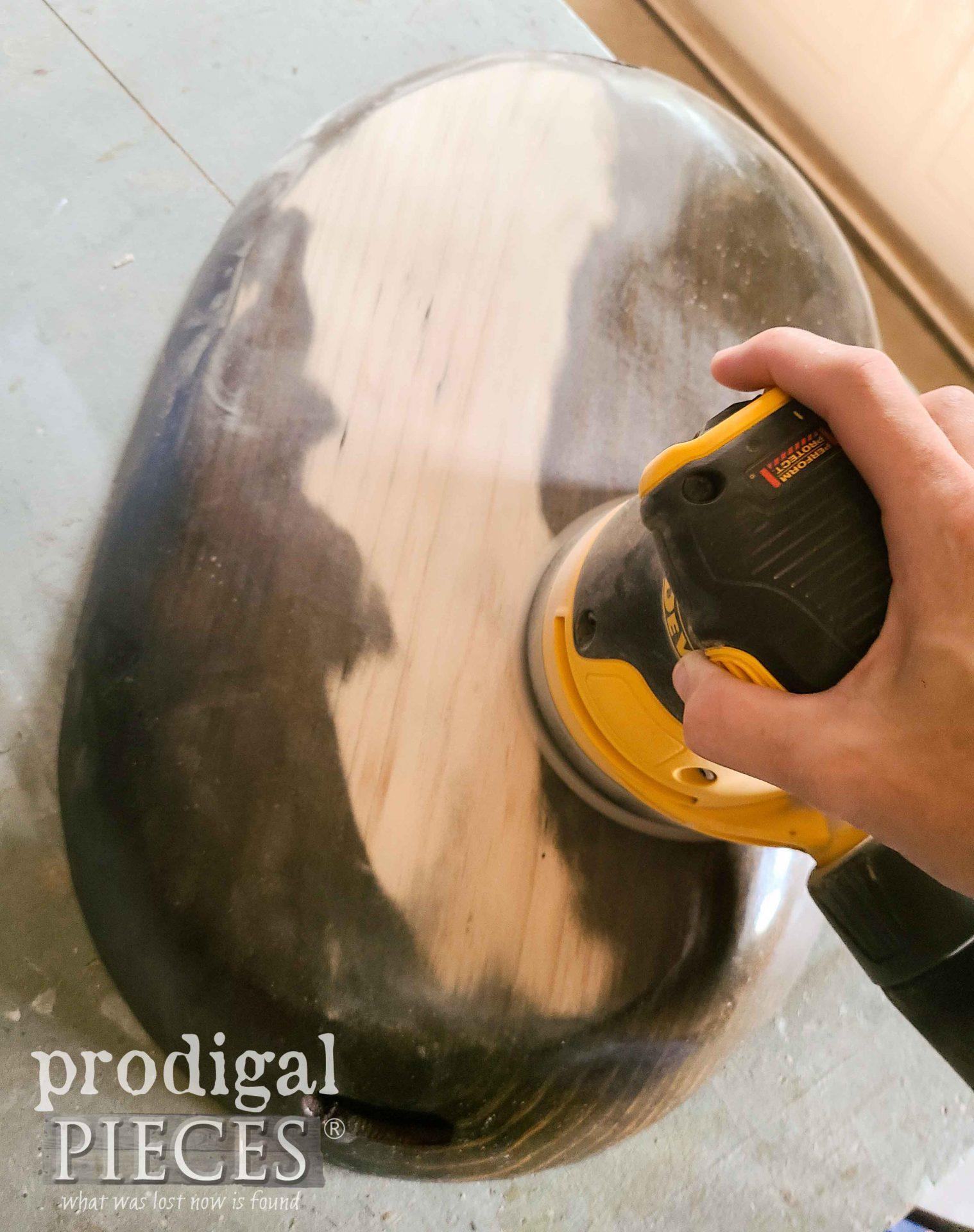 Sanding Wooden Farmhouse Dough Bowl   prodigalpieces.com