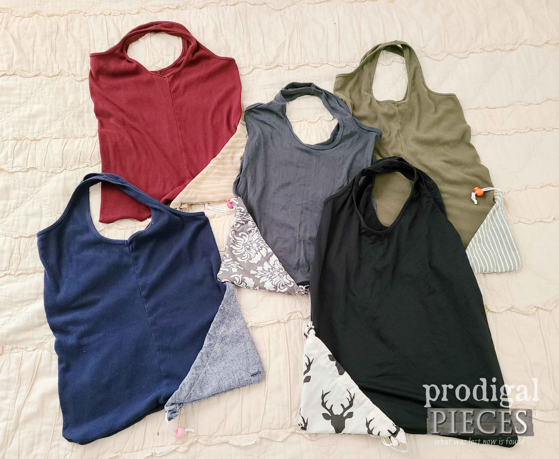 Set of Refashioned Tank Tops into Reusable Compact Shopping Bags   prodigalpieces.com #prodigalpieces #sewing #refashion