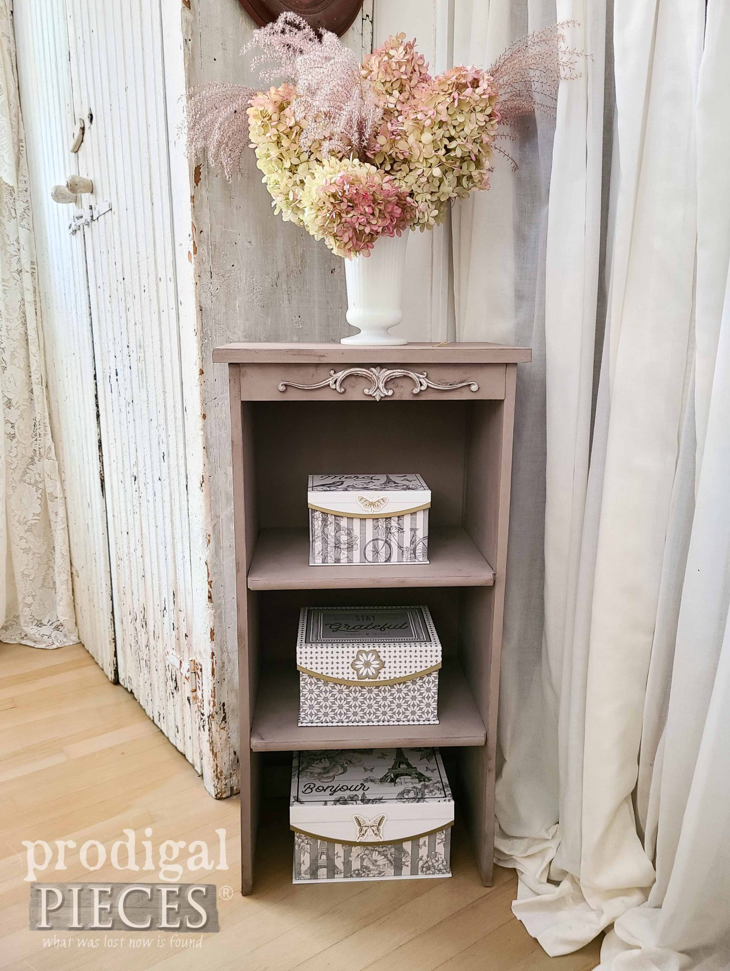Vintage Style Shabby Chic Cabinet with Storage Boxes by Larissa of Prodigal Pieces | prodigalpieces.com #prodigalpieces #home #shabbychic #storage #home #furntiure