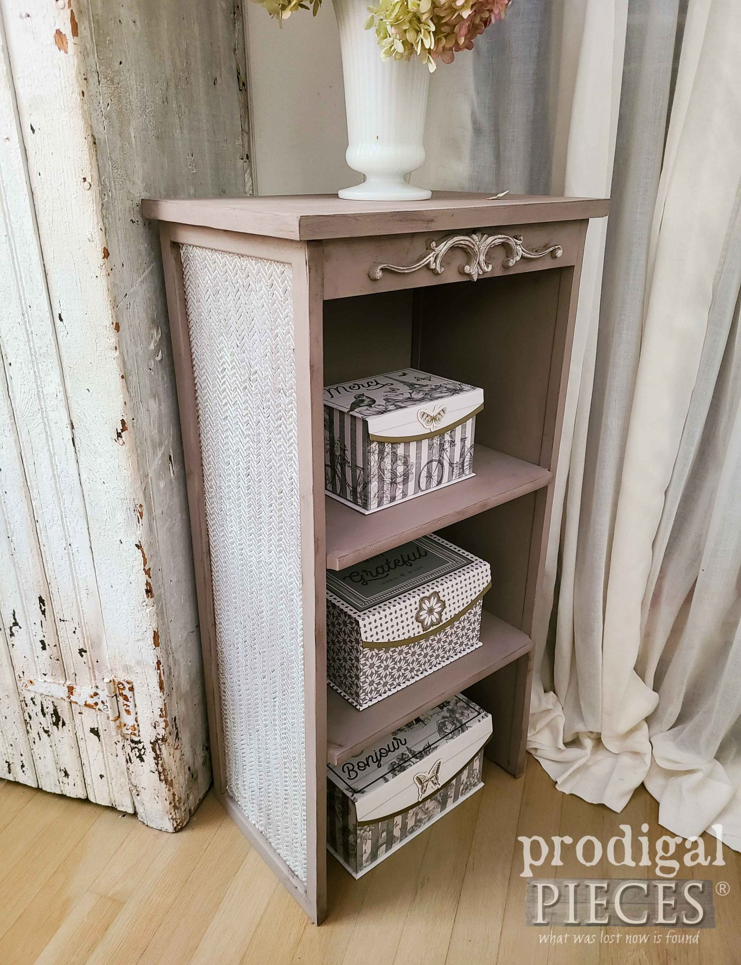 Side View of Broken Furniture Upcycled into Shelf with Storage Boxes by Larissa of Prodigal Pieces | prodigalpieces.com #prodigalpieces #furniture #storage #home #homedecor